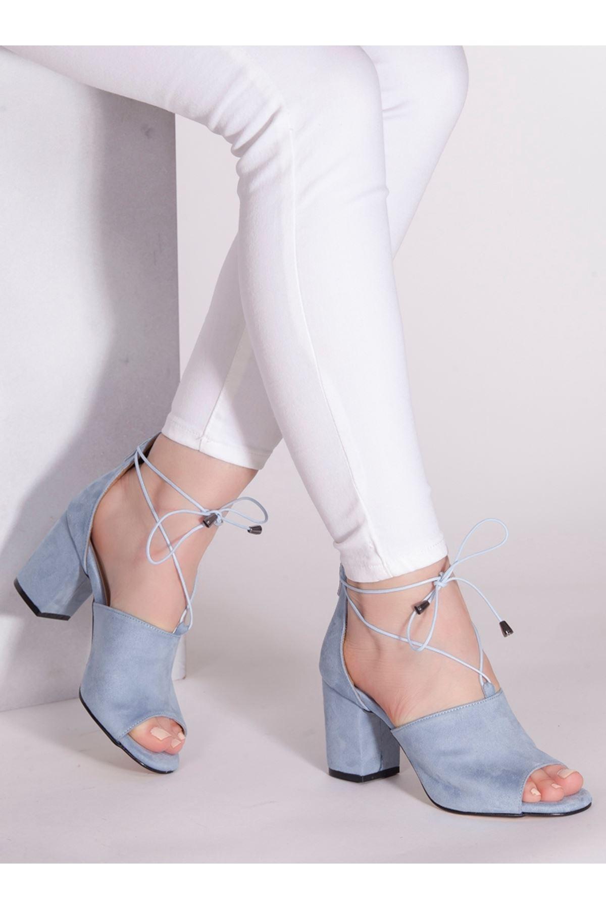 Elena Mavi Süet Topuklu Ayakkabı