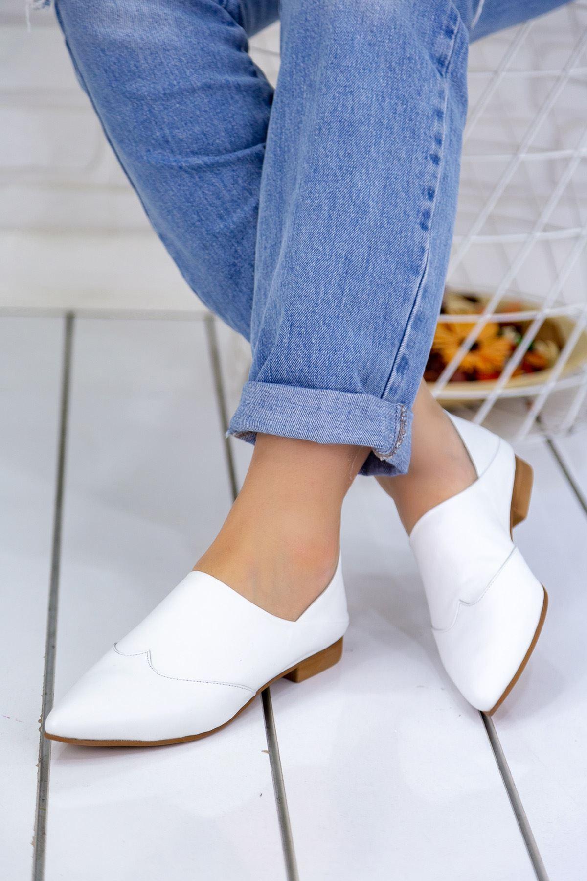 Kalispe Beyaz Hakiki Deri Günlük Babet Bayan Ayakkabı
