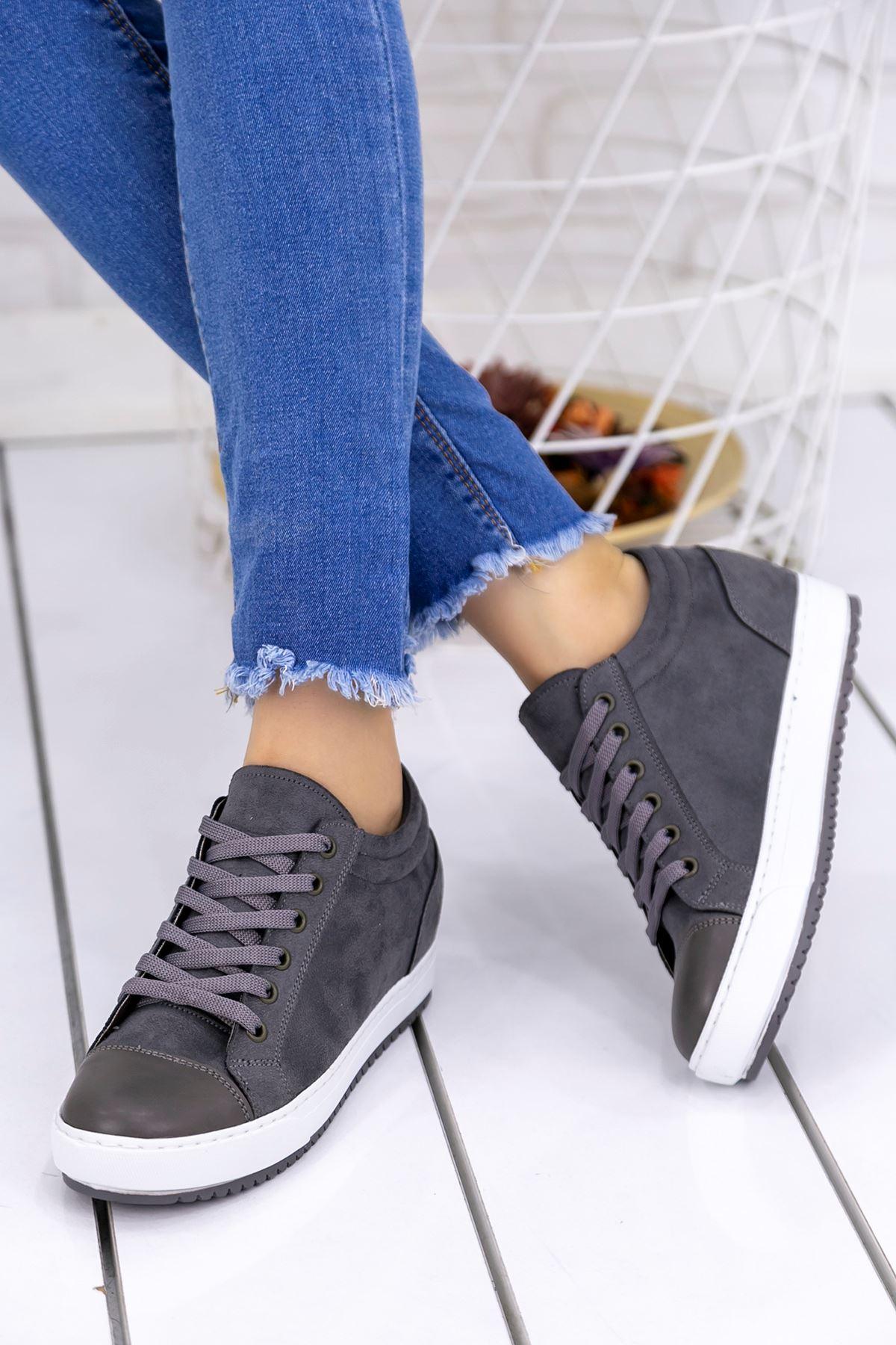 Adonia Füme Süet  Gizli Topuklu Ortapedik Bayan Spor Ayakkabı