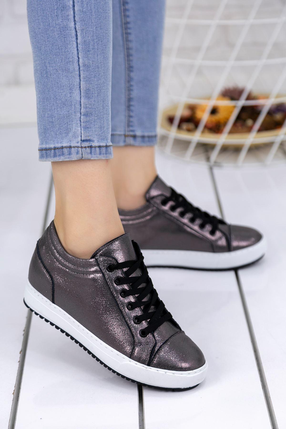Adonia Füme Cilt Gizli Topuklu Ortapedik Bayan Spor Ayakkabı