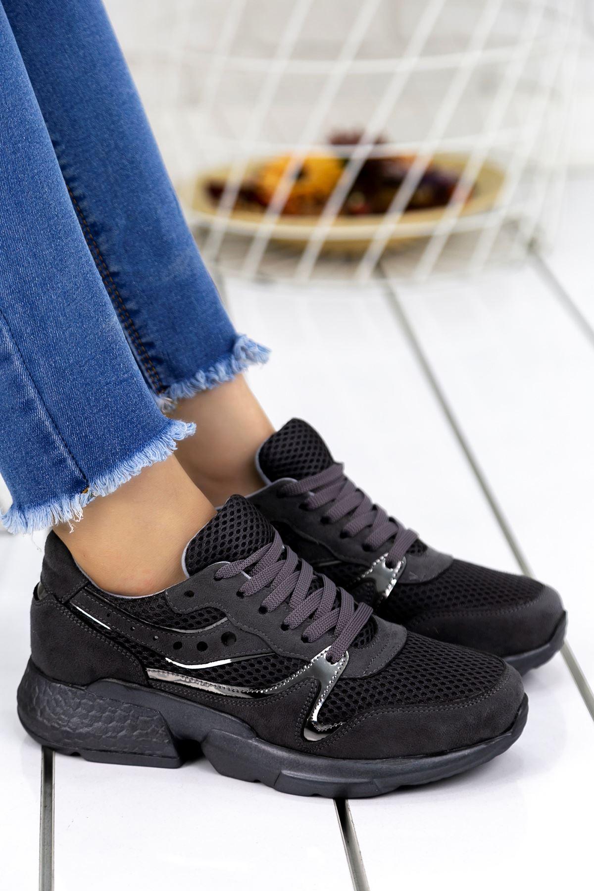 Marzo Füme Lame İthal Süet Bayan Spor Ayakkabı