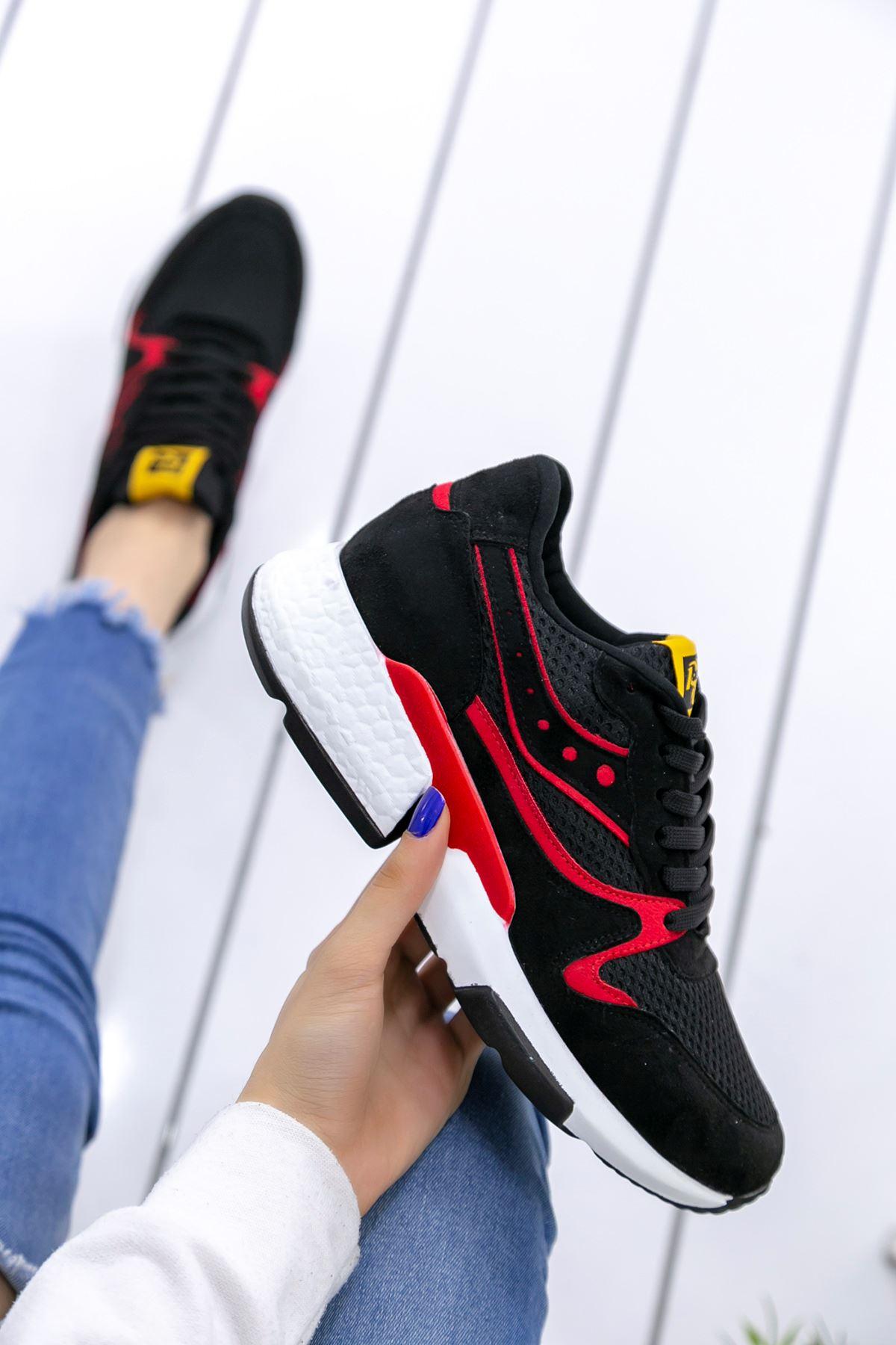 Marzo Siyah Kırmızı Lame İthal Süet Bayan Spor Ayakkabı