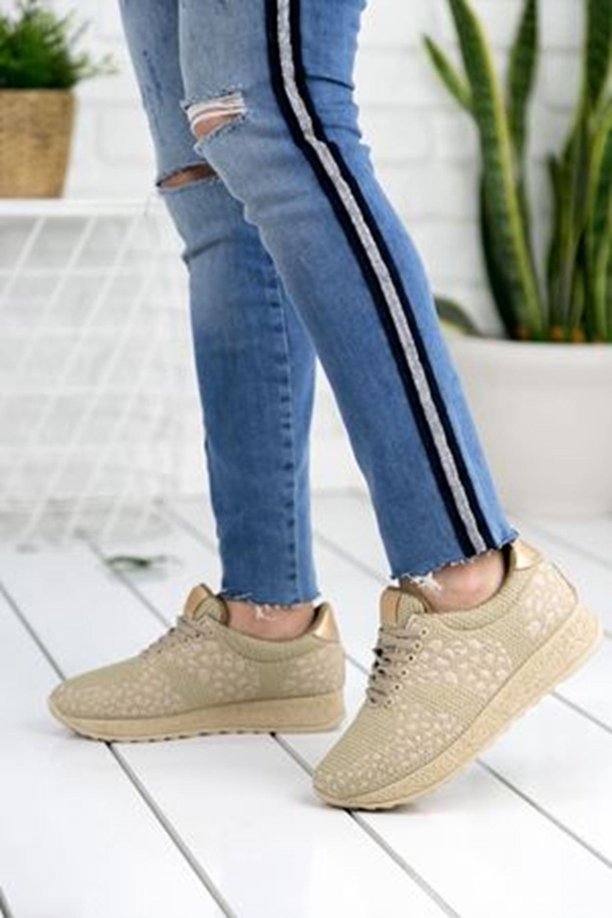 Fancy Krem Ortapedik Bayan Spor Ayakkabı