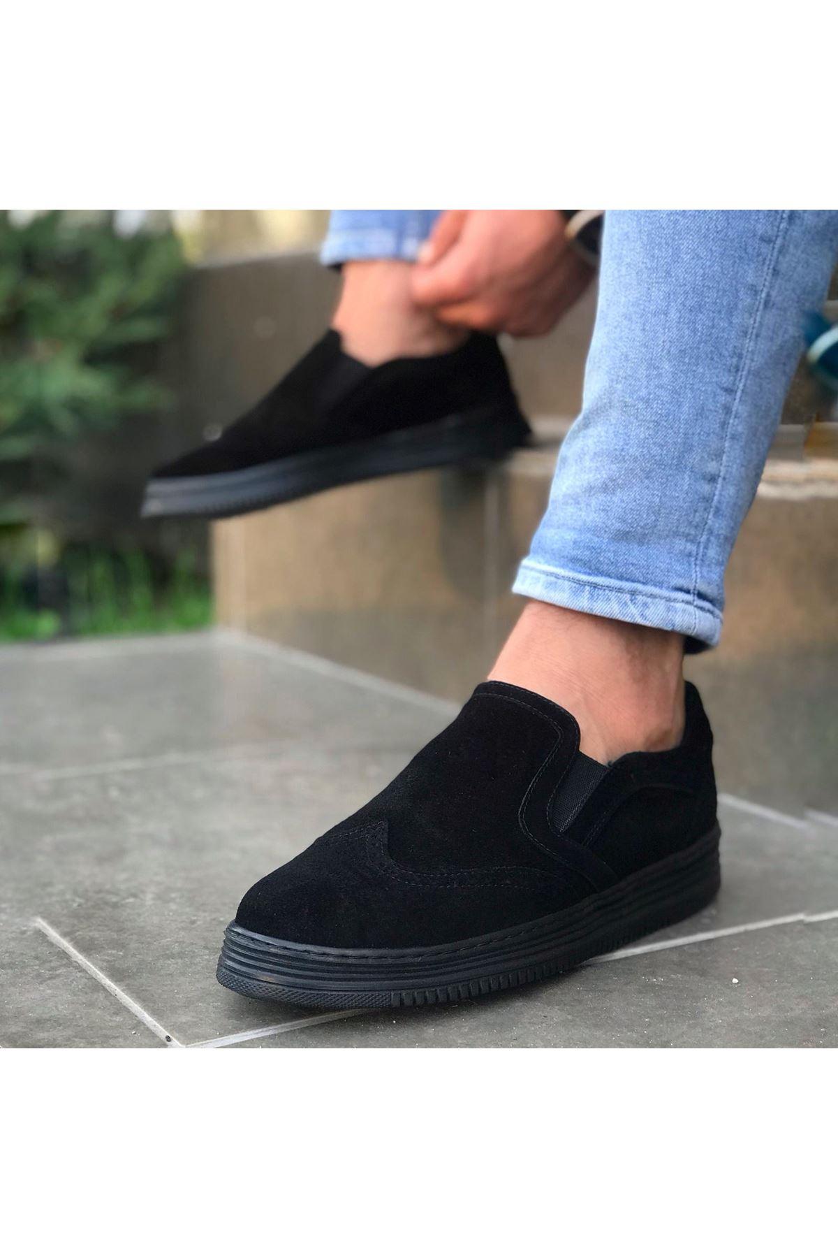 Wolk Bağcıksız Siyah Süet Erkek Ayakkabısı