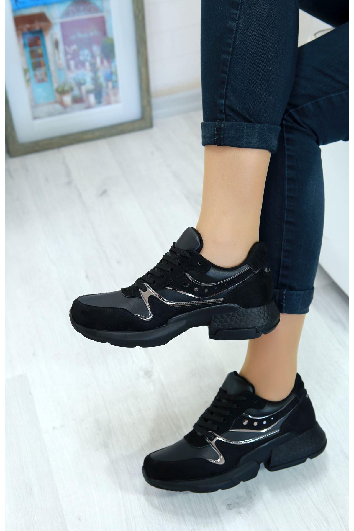 Marzo Siyah Lame İthal Süet Bayan Spor Ayakkabı