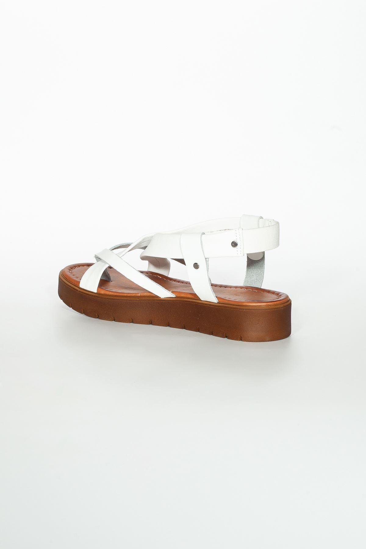 Deyre Hakiki Deri Beyaz Kadın Sandalet