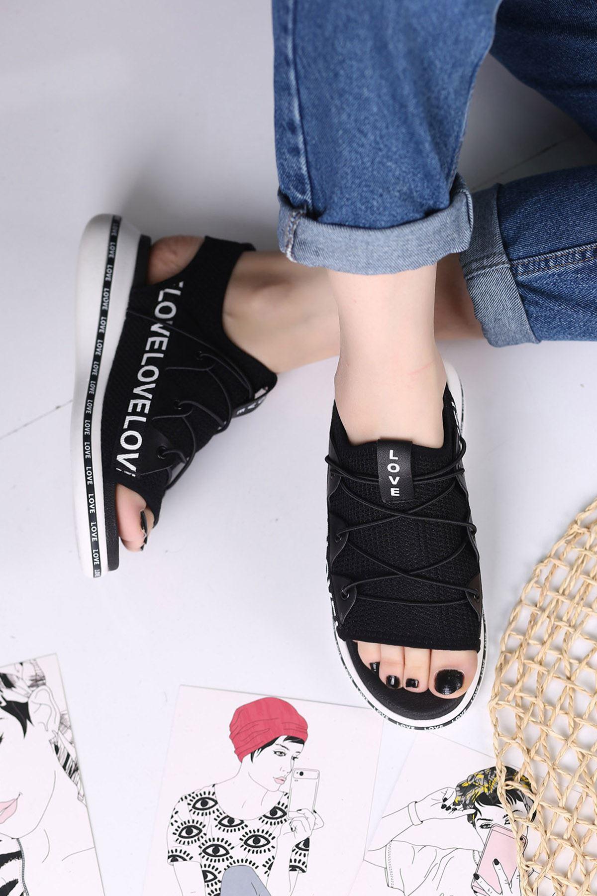 Awser Siyah Ortapedik Bayan Spor Ayakkabı