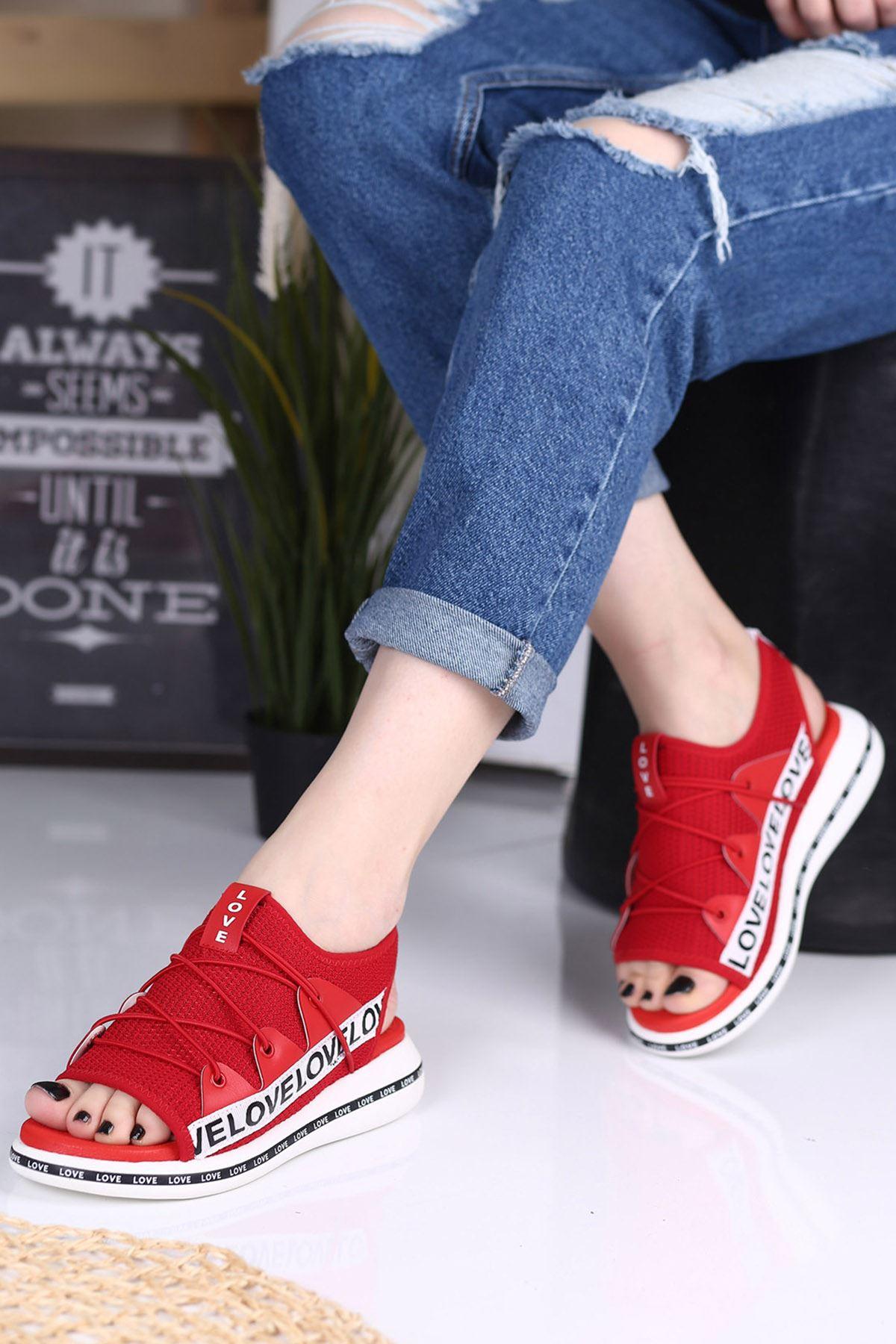 Awser Kırmızı Ortapedik Bayan Spor Ayakkabı