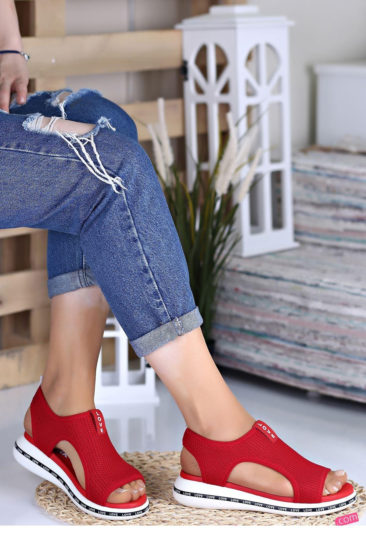 Verşan Kırmızı Ortapedik Bayan Spor Ayakkabı