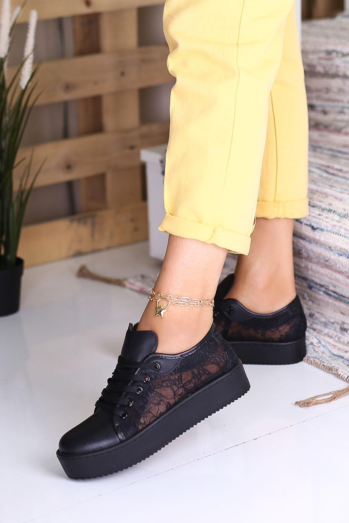 İnna Siyah Dantelli Spor Günlük Bayan Ayakkabı