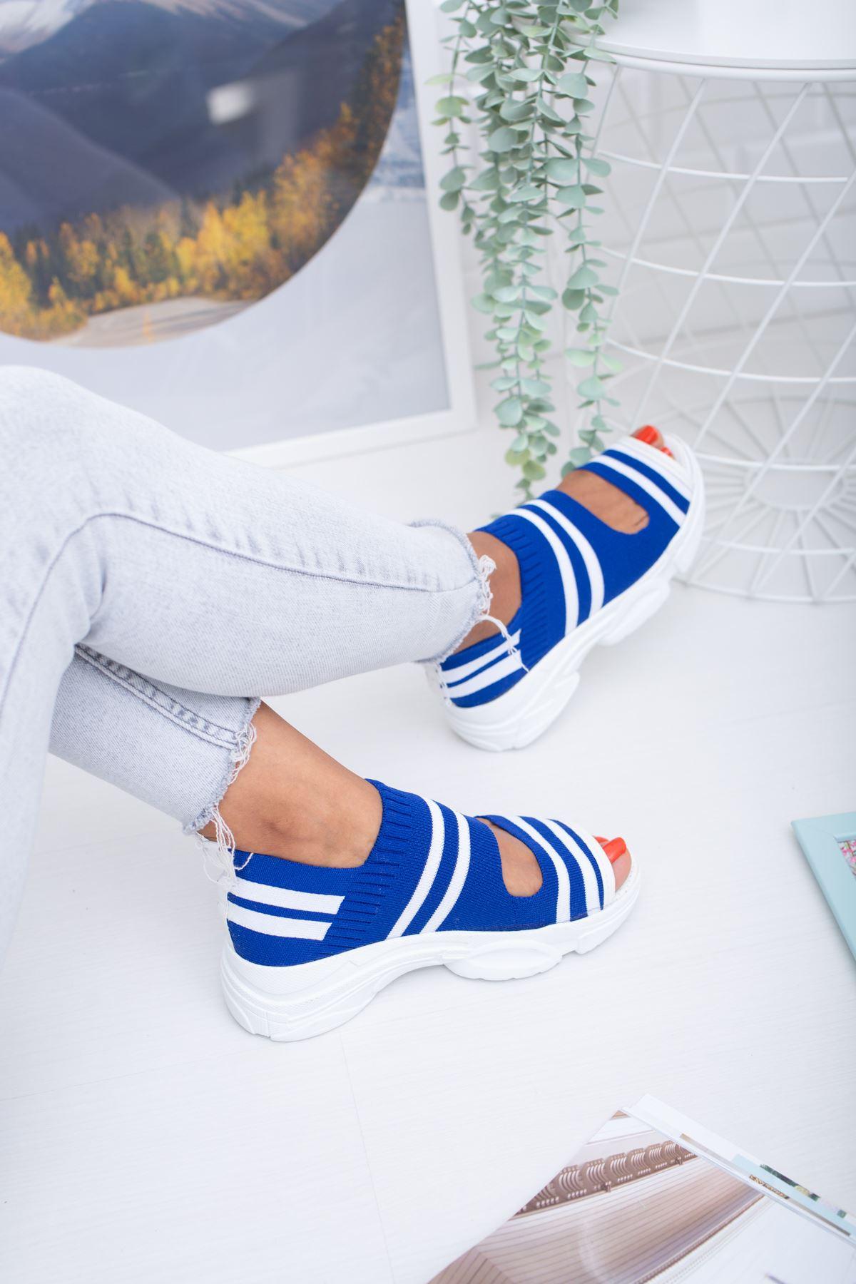 Hera Lacivert  Beyaz Triko Bayan Spor Ayakkabı
