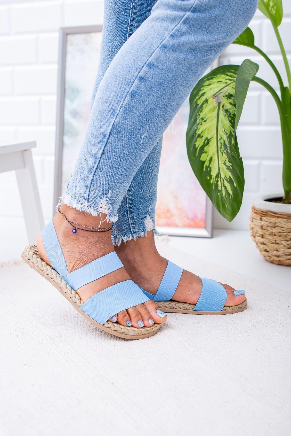 Sandey Kadın  Ortapedik Bebe Mavi Sandalet
