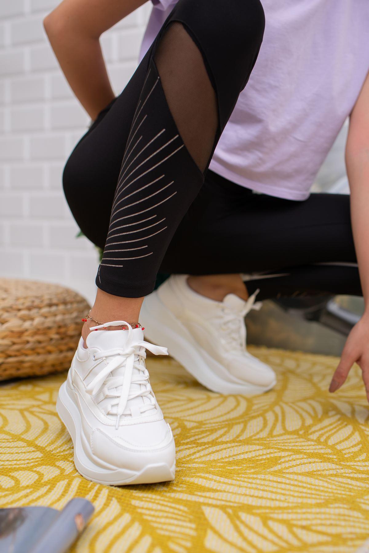 Larisa Yüksek Taban Ortapedik Beyaz Bayan Spor Ayakkabı