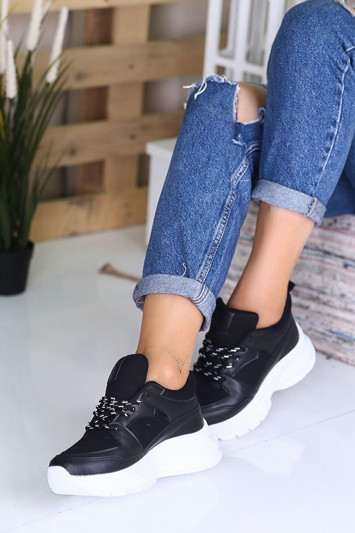 Lezan Ortapedik Siyah Bayan Spor Ayakkabı