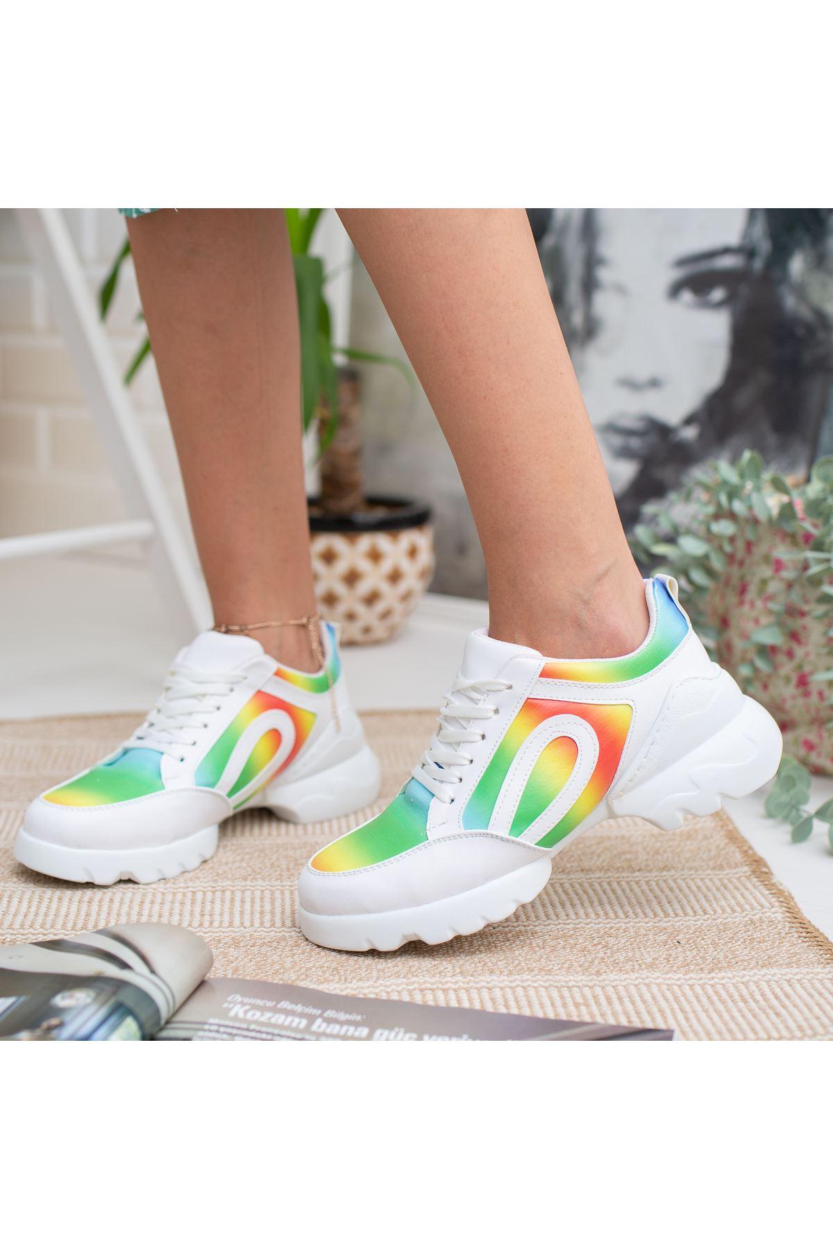 Vista Beyaz Yeşil Ortapedik Bayan Spor Ayakkabı