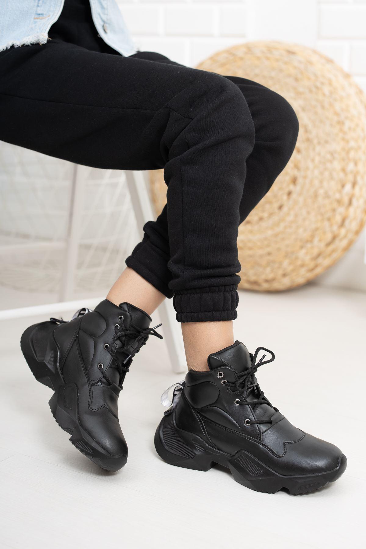 Aspidistra Siyah Ortapedik Yüksek Taban Spor Ayakkabı