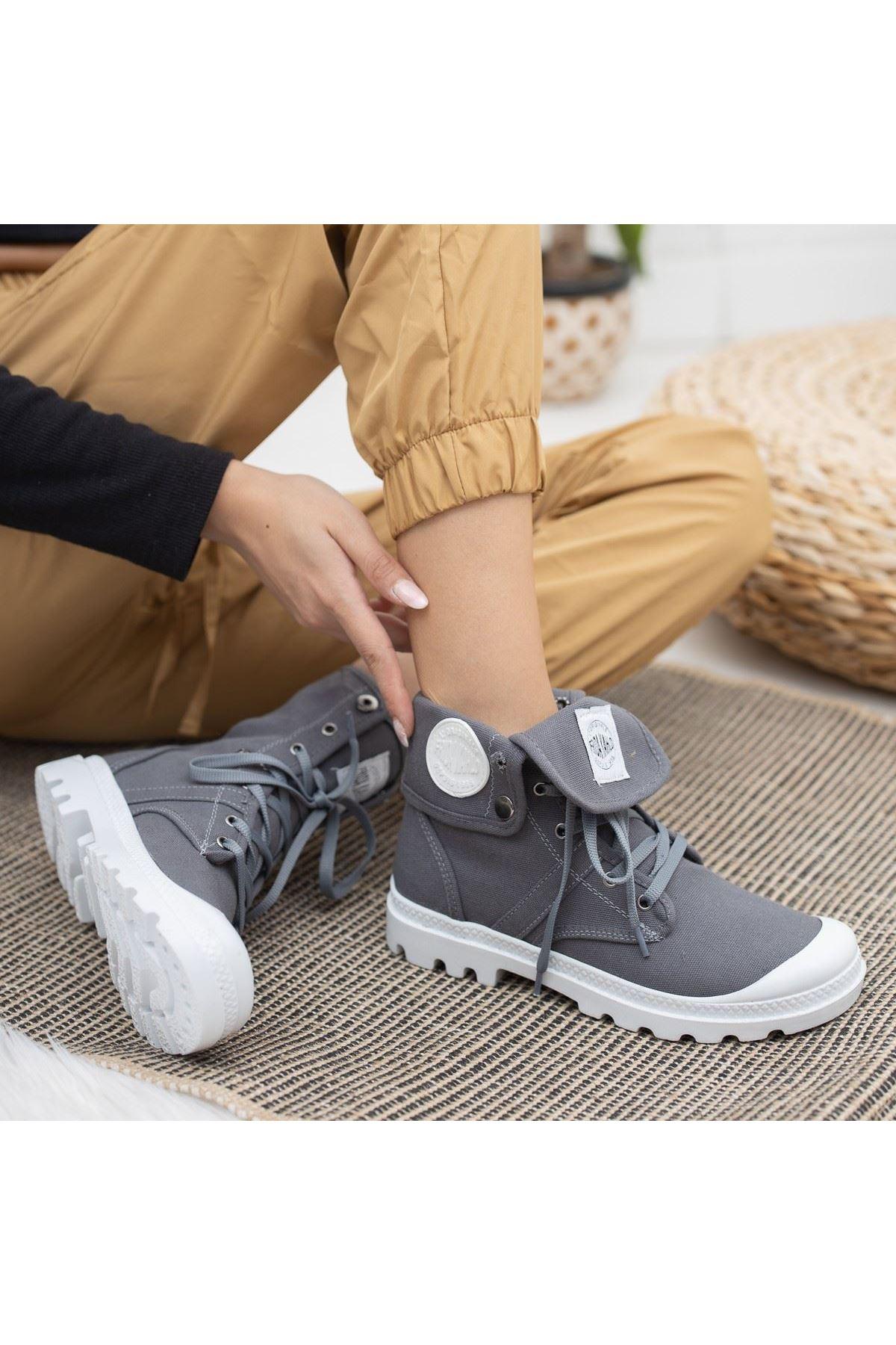 Werzi Gri Keten Bağcıklı Spor Ayakkabı