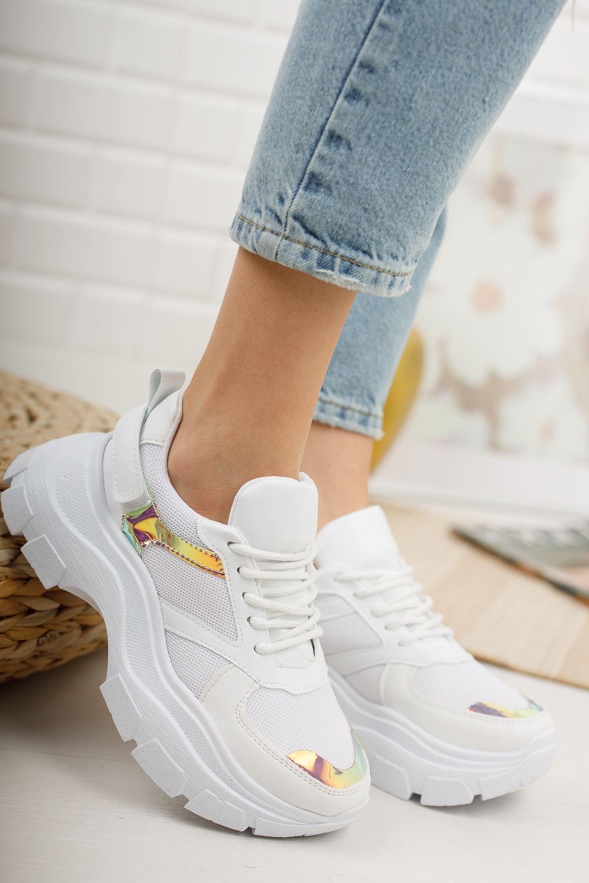 Aria Beyaz Hologram Kadın Spor Ayakkabı