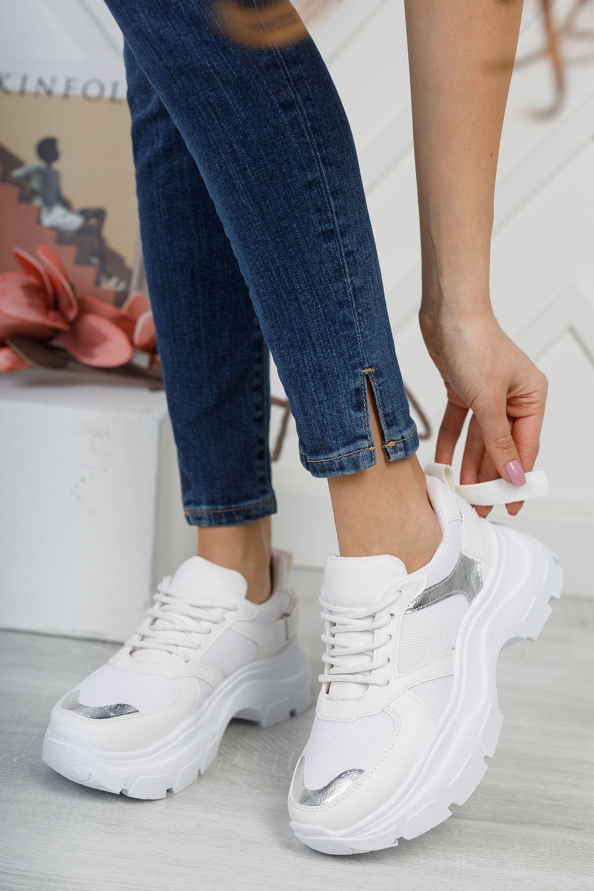 Aria Beyaz Gri Kadın Spor Ayakkabı