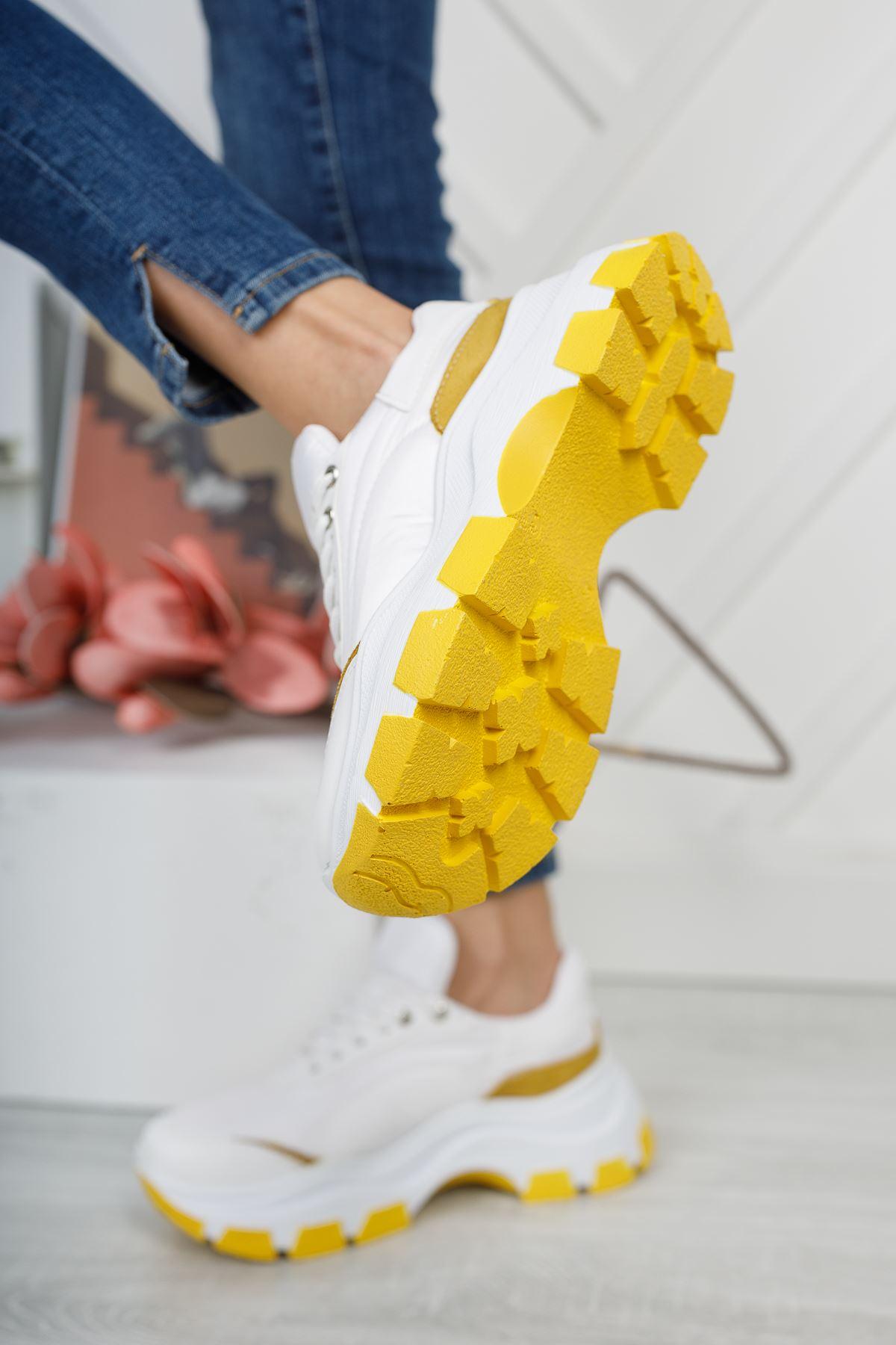 Aria Beyaz Sarı Kadın Spor Ayakkabı