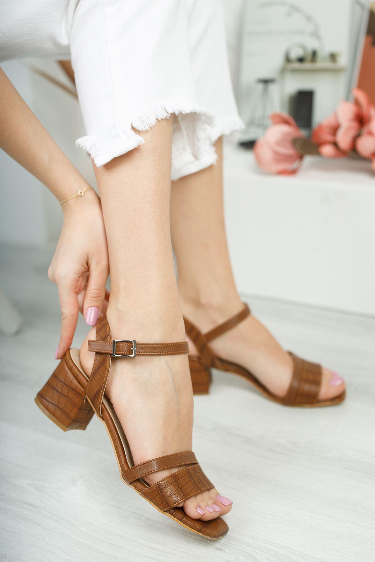 Lilith Lüks Taba Topuklu Kadın Sandalet