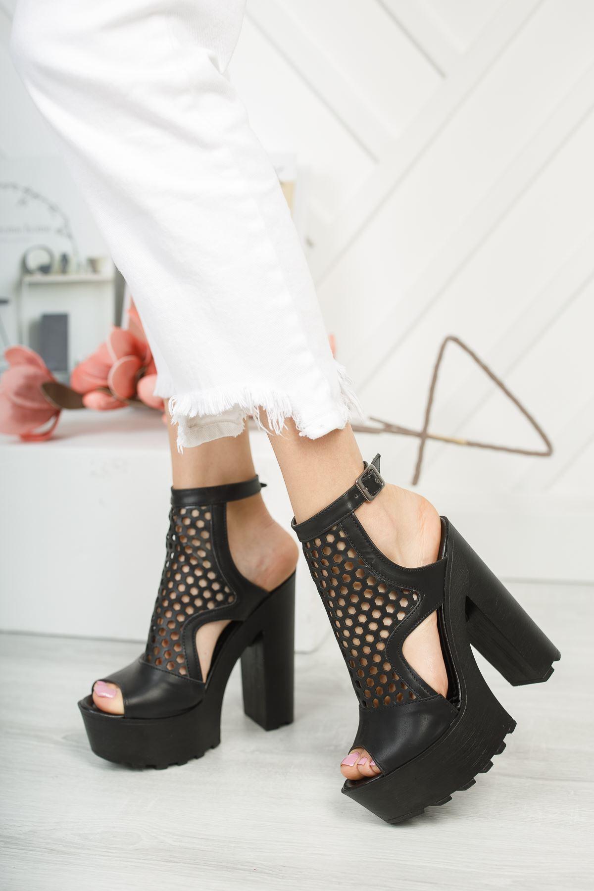 Frida Siyah Yüksek Topuk Kadın Ayakkabı