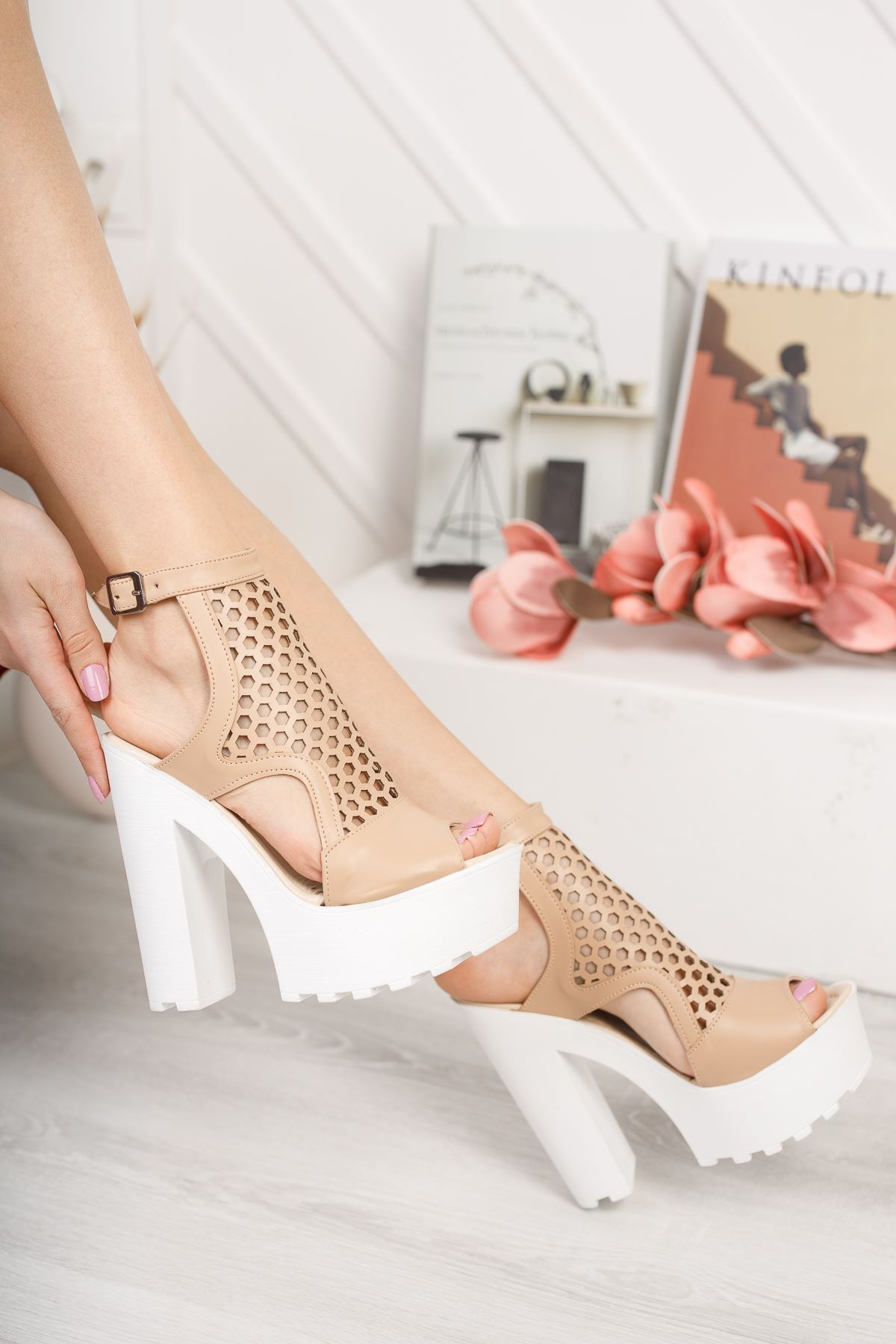 Frida Vizon Yüksek Topuk Kadın Ayakkabı
