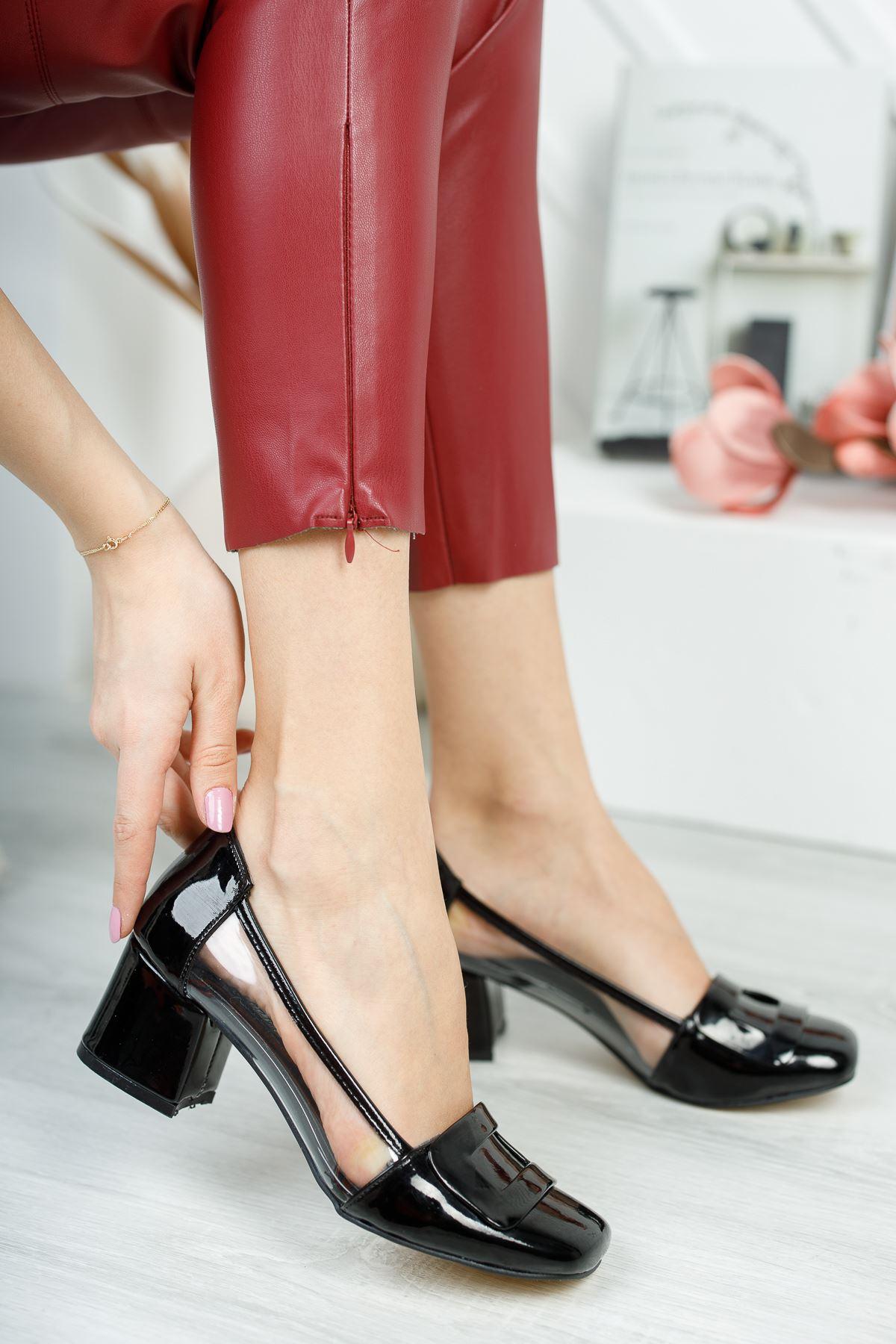Rindek Lüks Siyah Rugan Şeffaf Detay Yüksek Topuk Kadın Ayakkabı
