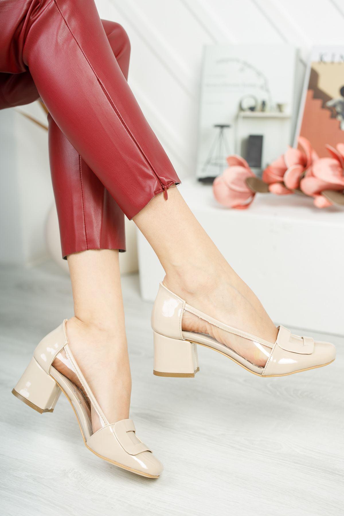 Rindek Lüks Vizon Rugan Şeffaf Detay Yüksek Topuk Kadın Ayakkabı