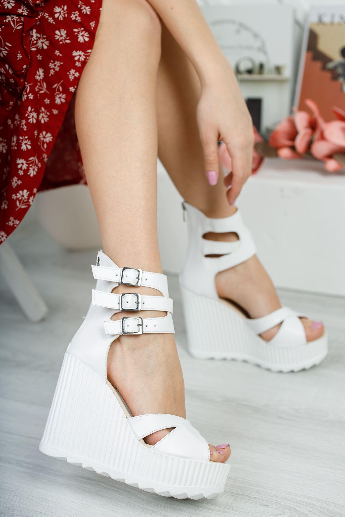 Serkar Beyaz Fermuar Detay  Platform Kadın Ayakkabı
