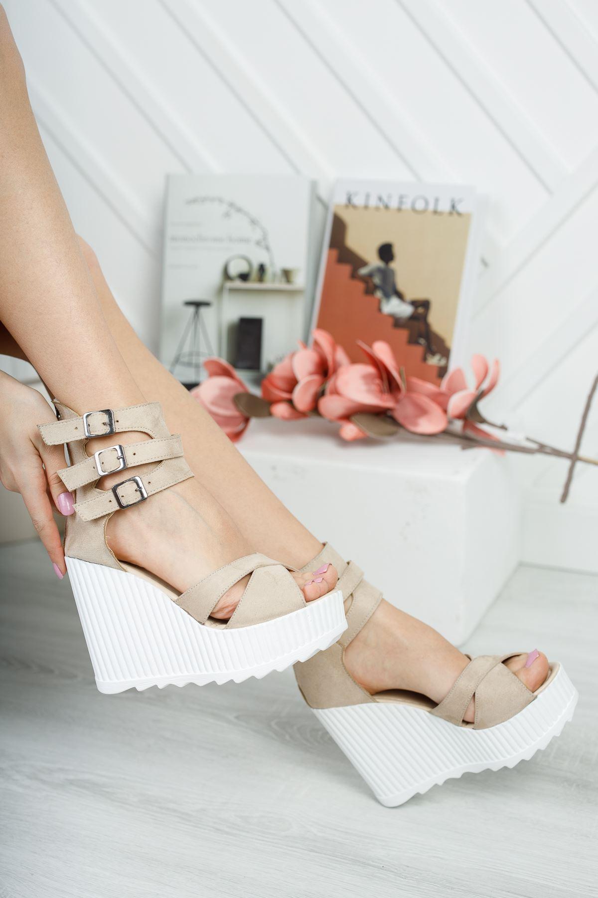 Serkar Vizon Süet  Fermuar Detay  Platform Kadın Ayakkabı