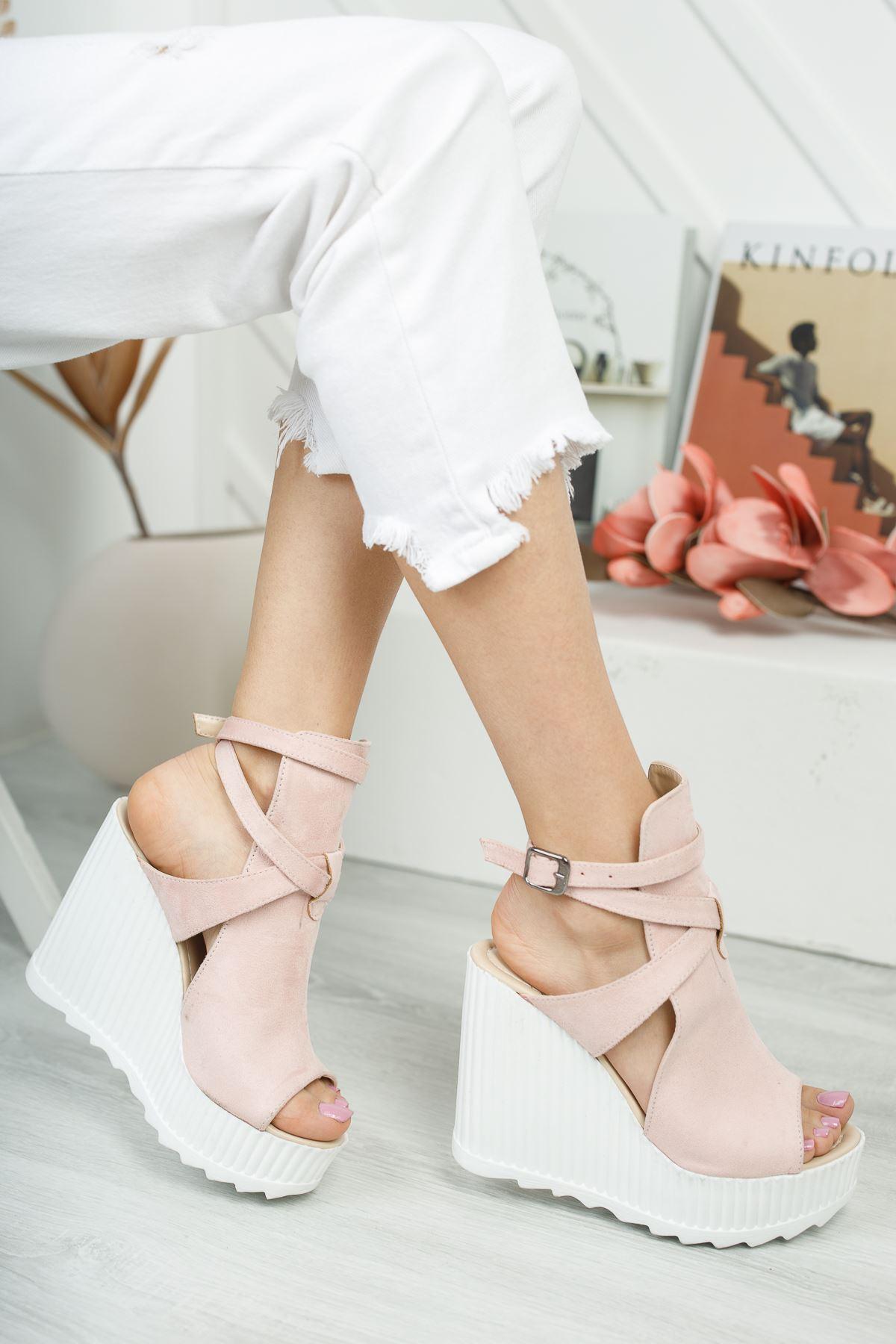 Gemaş Pudra Süet Platform Topuk Kadın Ayakkabı
