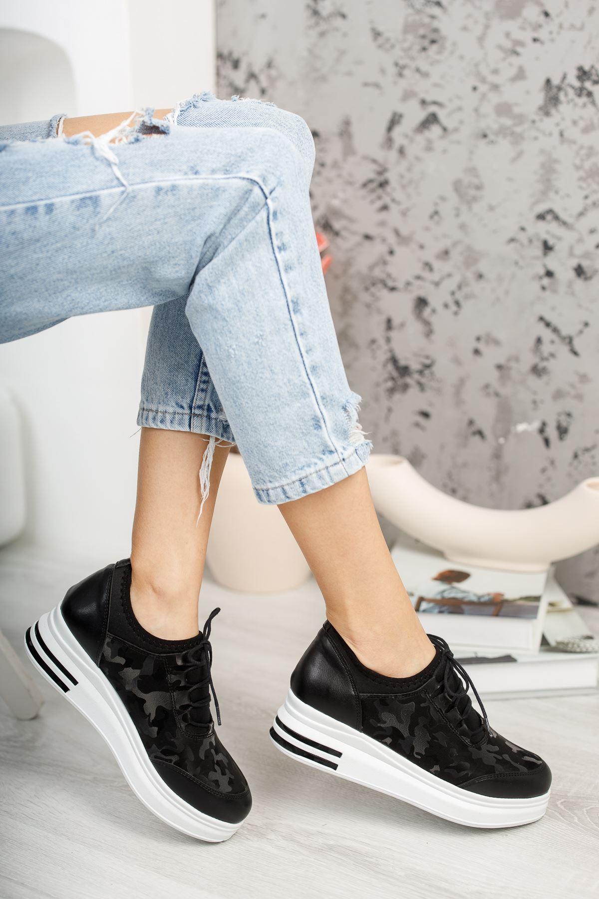 Zeytuni Siyah Ortapedik Beyaz Taban Siyah Desenli Bayan Spor Ayakkabı