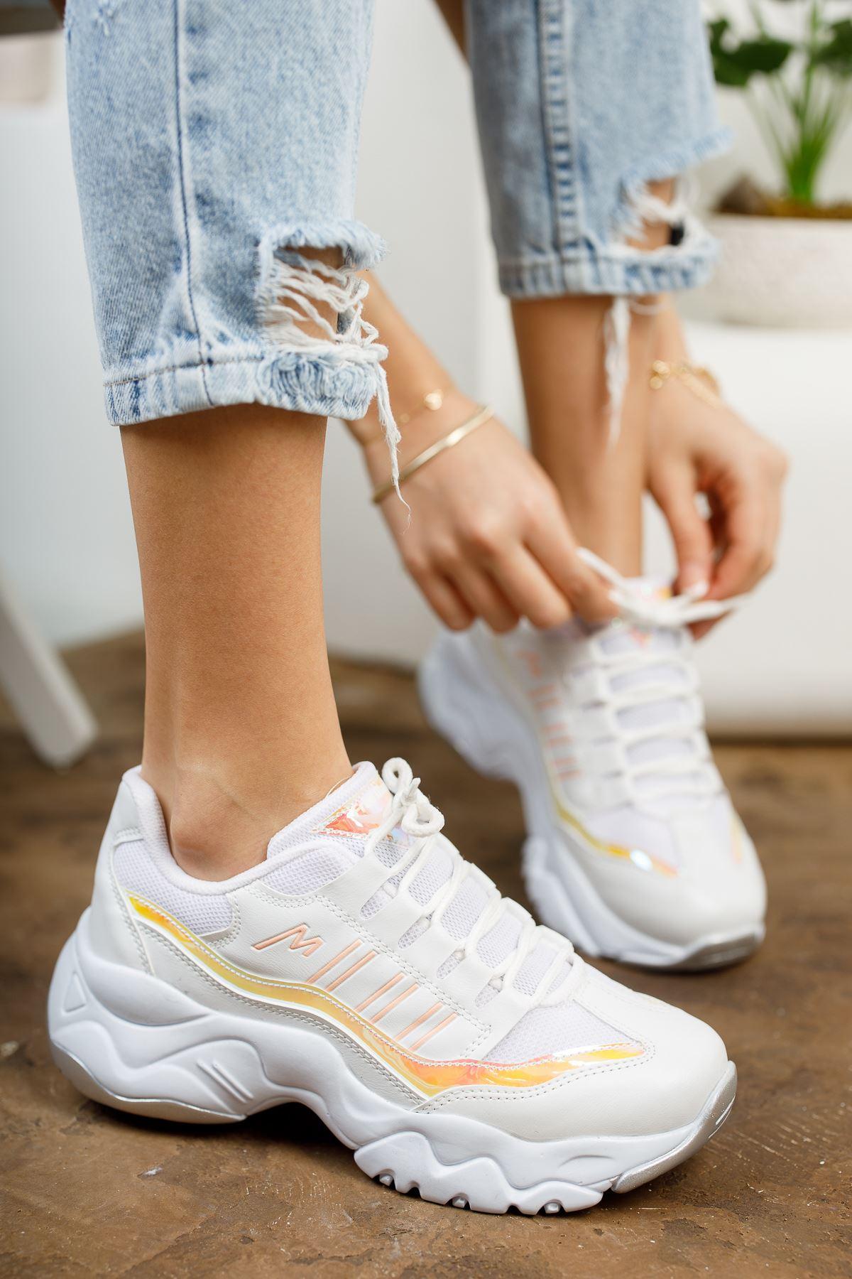 Dorşin Beyaz-Orange Kadın Spor Ayakkabı