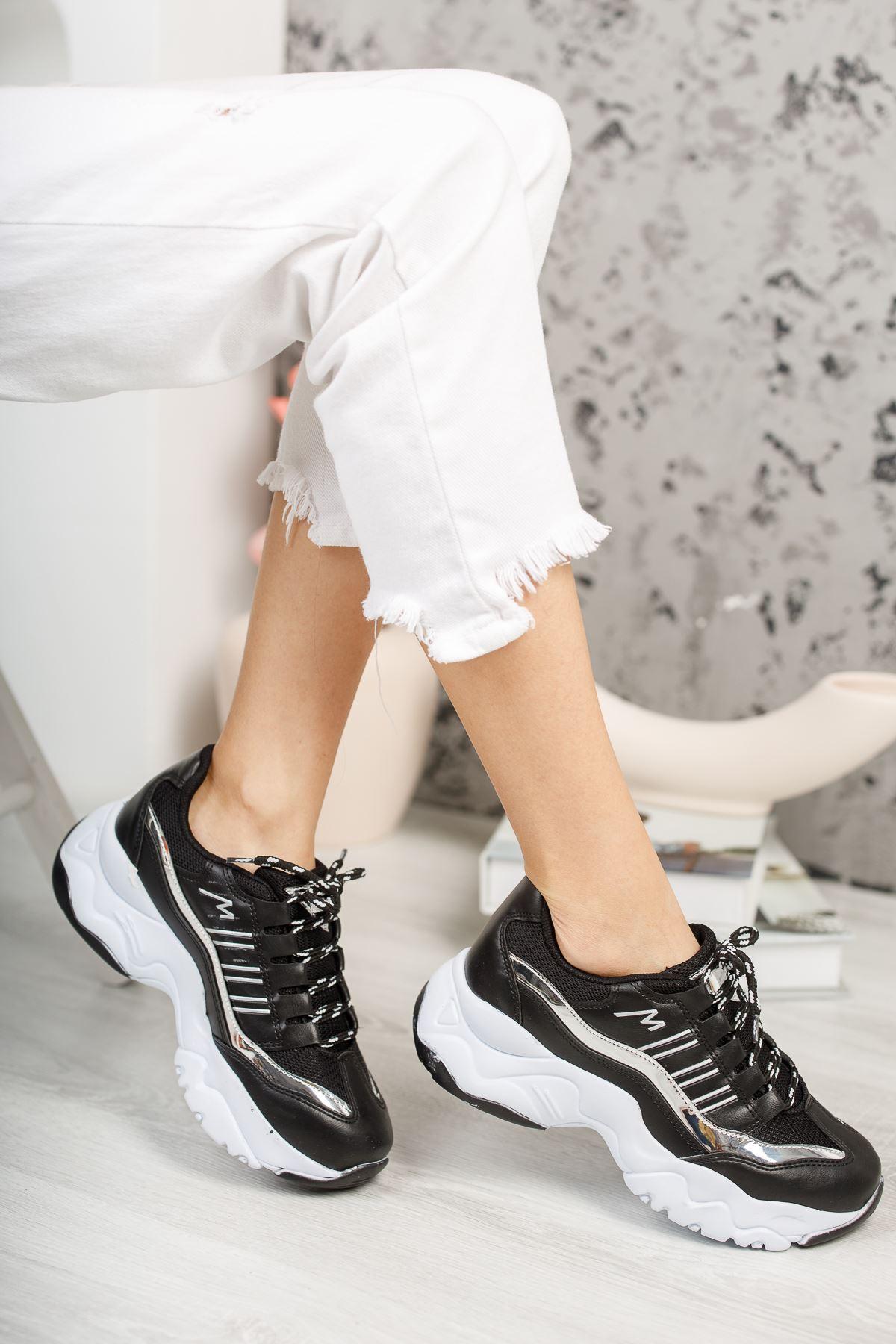 Dorşin Siyah-Beyaz Kadın Spor Ayakkabı