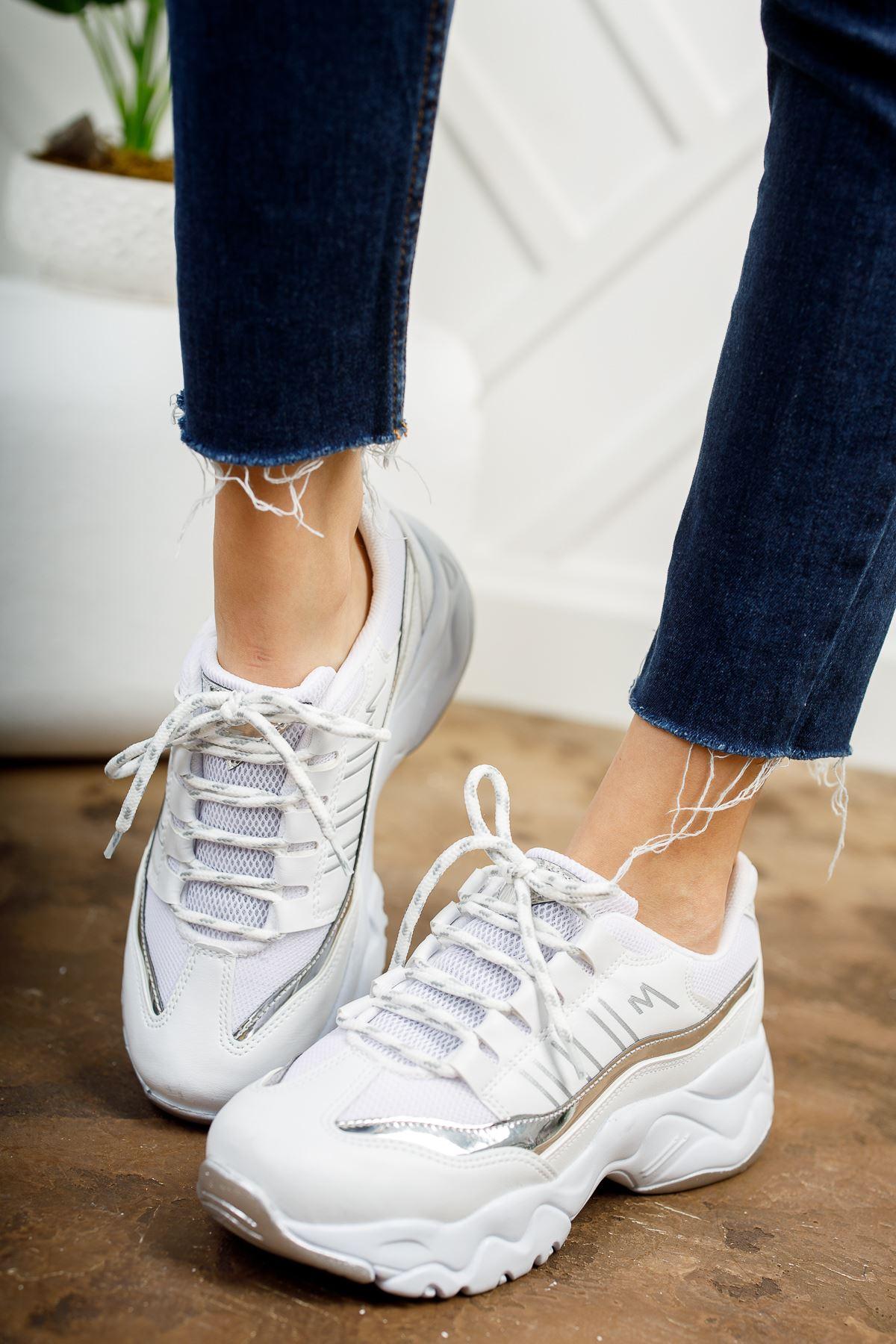 Dorşin Beyaz-Gri Kadın Spor Ayakkabı