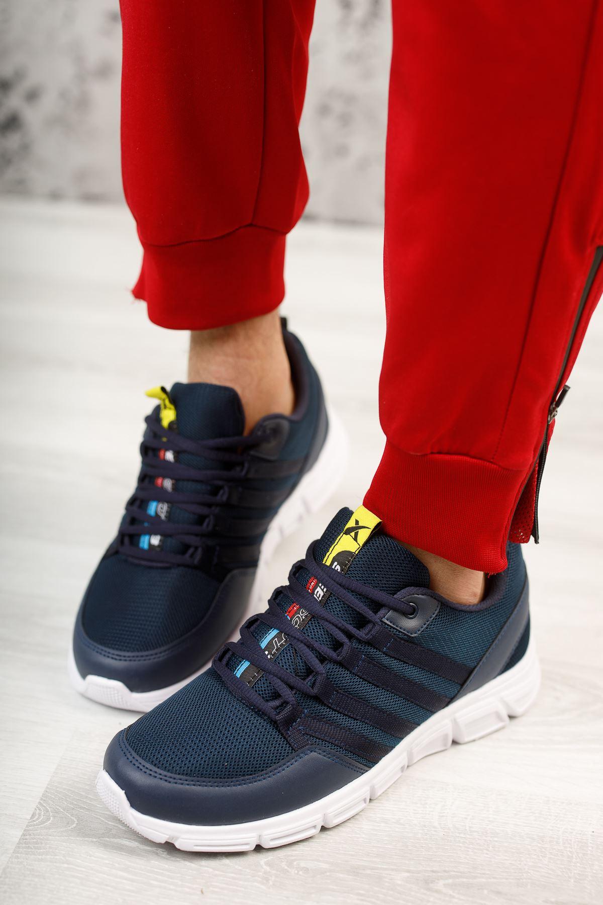 Wawik Lacivert Beyaz Taban Detaylı Erkek Spor Ayakkabı