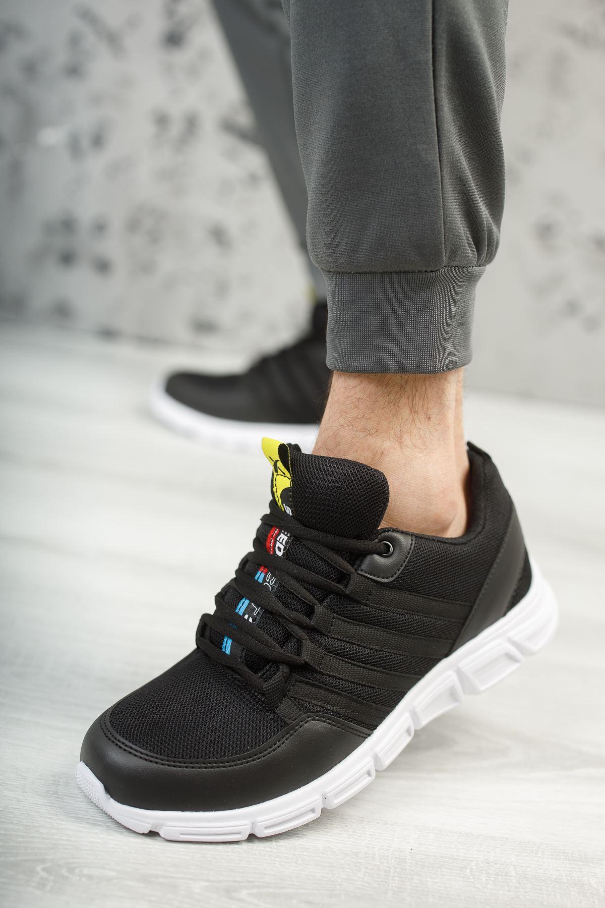 Wawik Siyah Beyaz Taban Yazı Detaylı Erkek Spor Ayakkabı