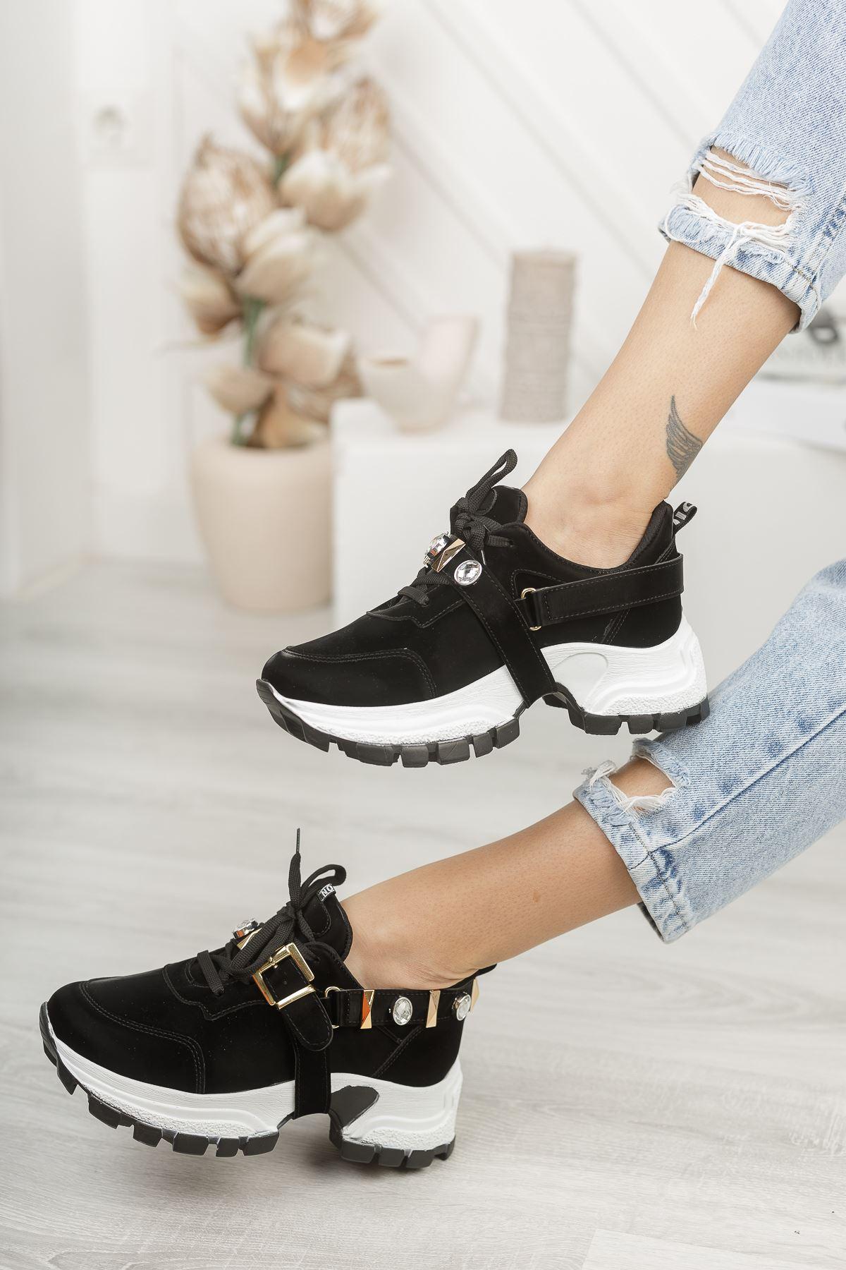 Wego Siyah Rugan Kadın Spor Ayakkabı