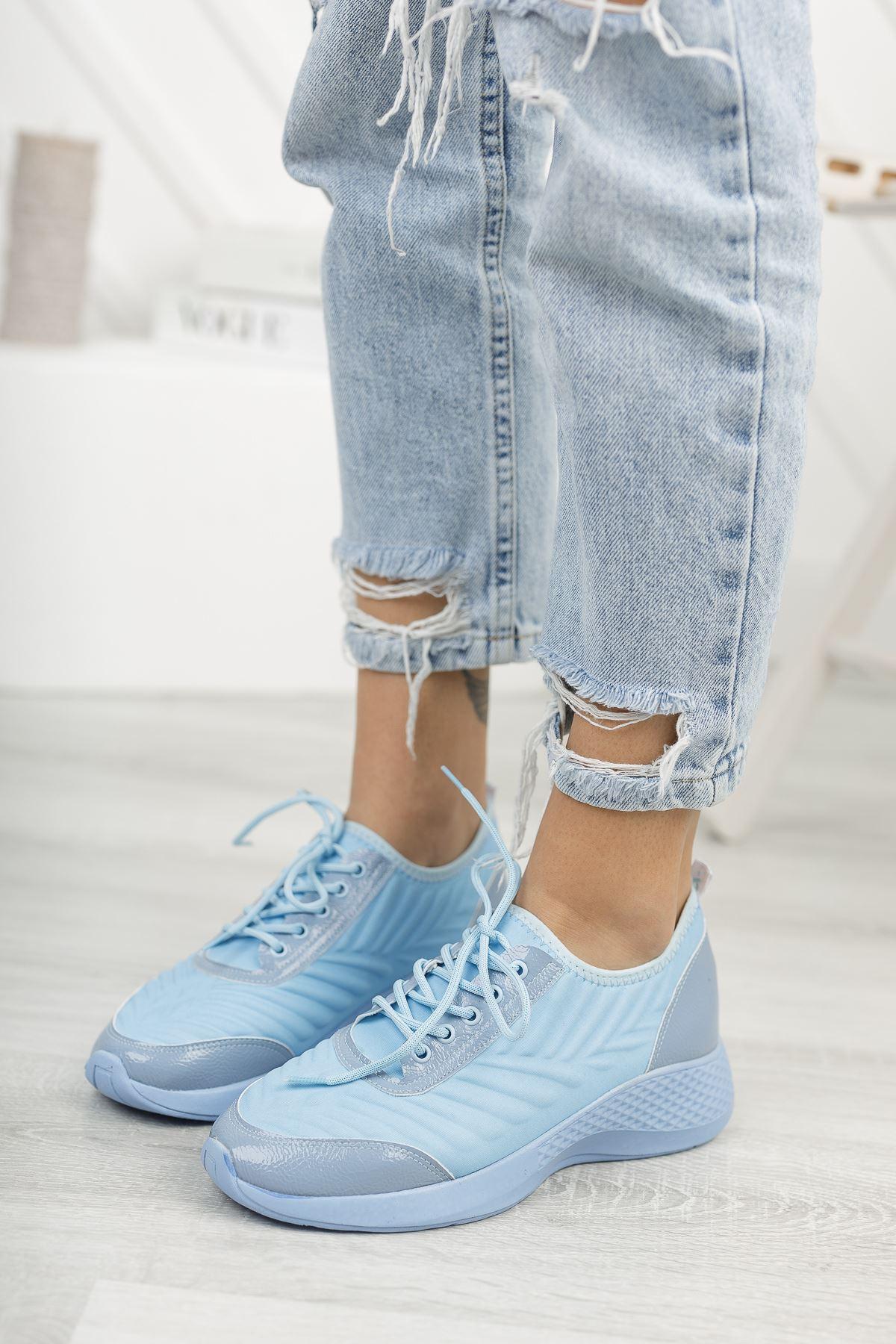Verda Bebe Mavisi Bağcıklı Triko Kadın Spor Ayakkabı