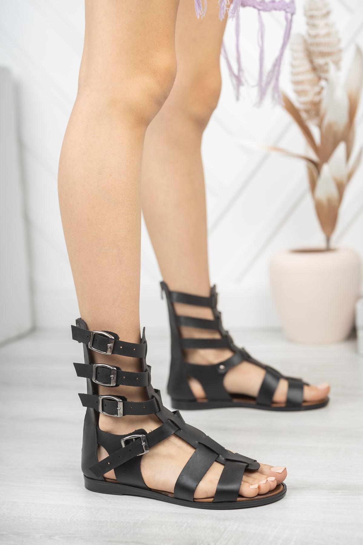 Leydi Hakiki Deri Siyah Günlük Kadın Sandalet