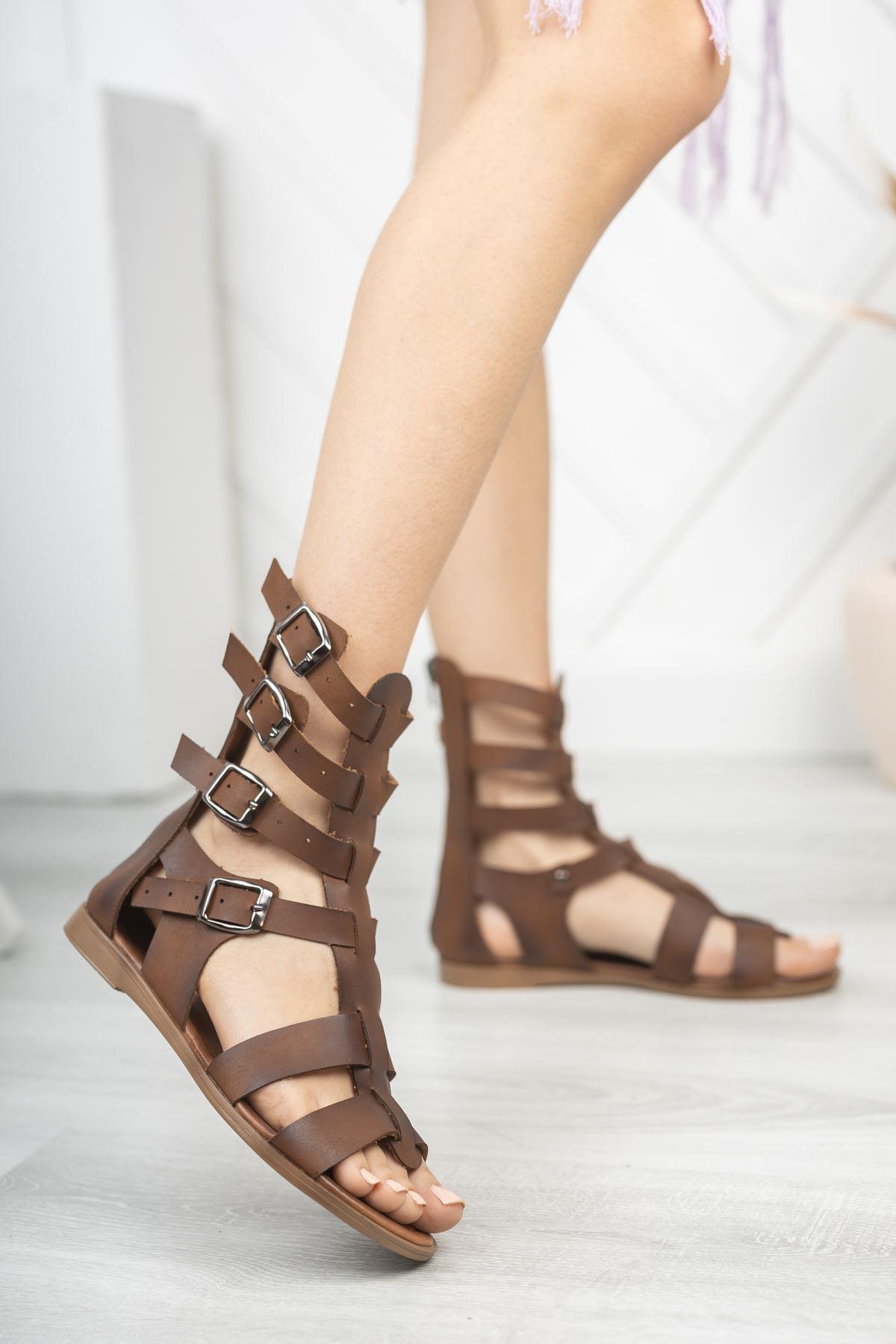 Leydi Hakiki Deri Kahverengi Günlük Kadın Sandalet
