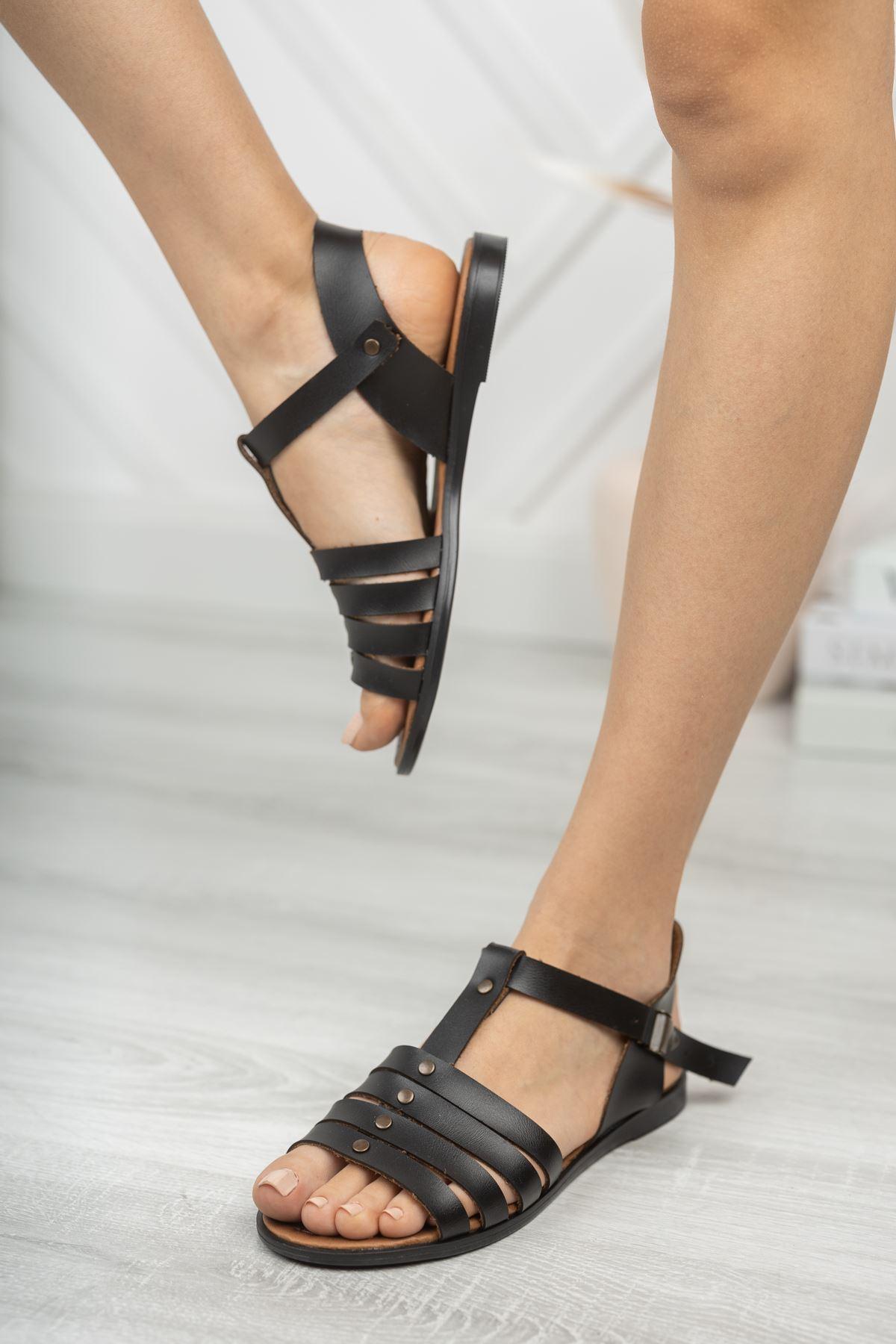 İrina Hakiki Deri Siyah Günlük Kadın Sandalet