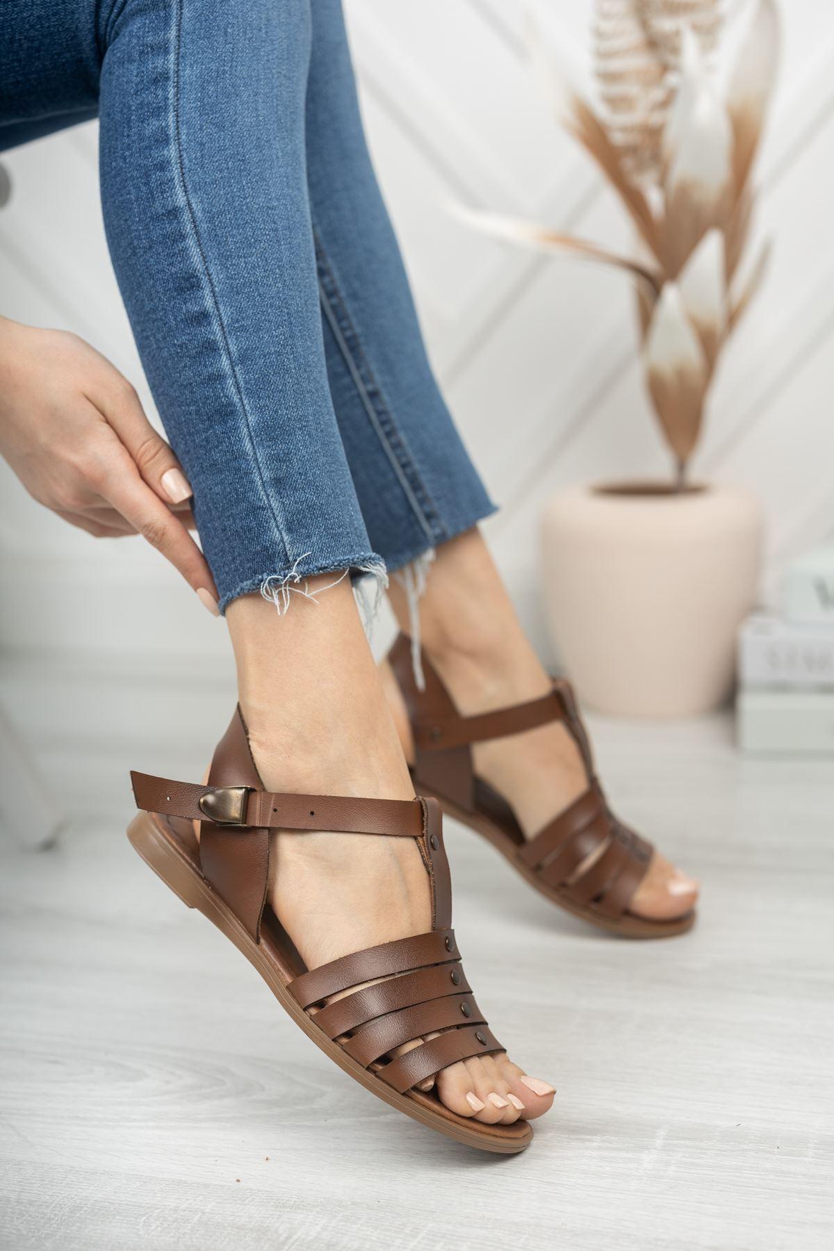 İrina Hakiki Deri Kahverengi Günlük Kadın Sandalet