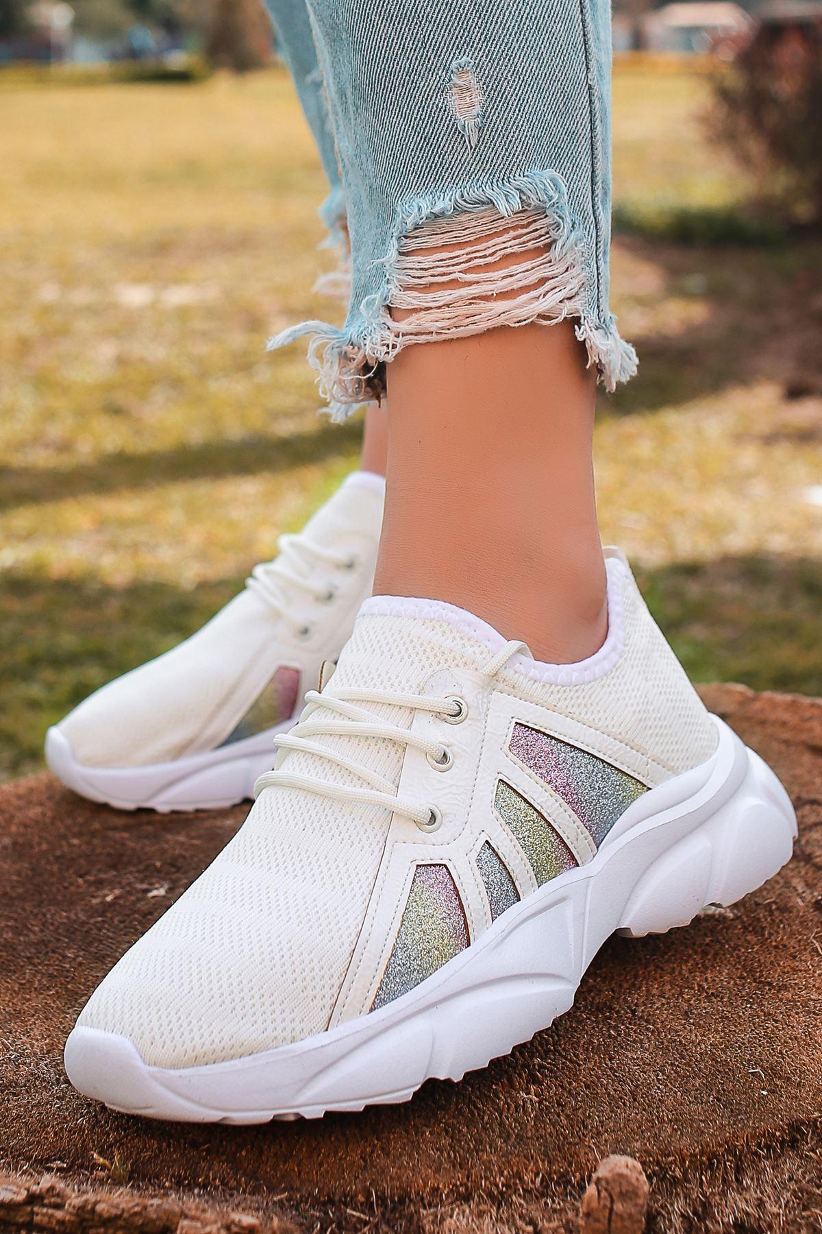 Danna Beyaz Simli  Kadın Triko Ayakkabı