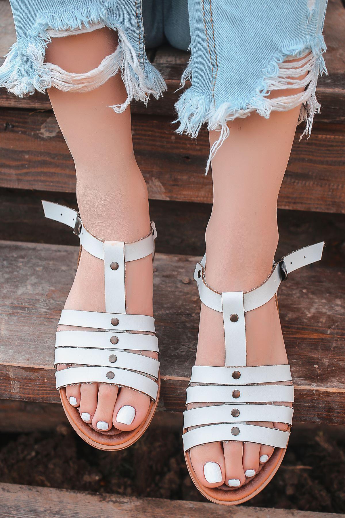 İrina Hakiki Deri Beyaz Günlük Kadın Sandalet