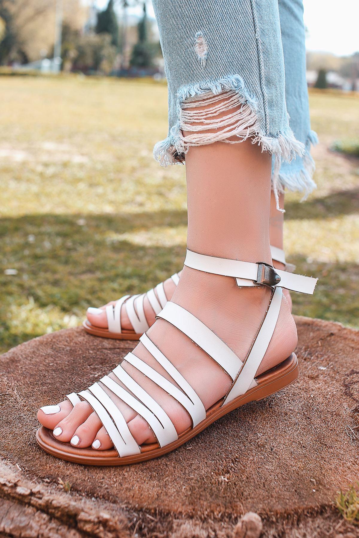 Berry Hakiki Deri Beyaz Günlük Kadın Sandalet