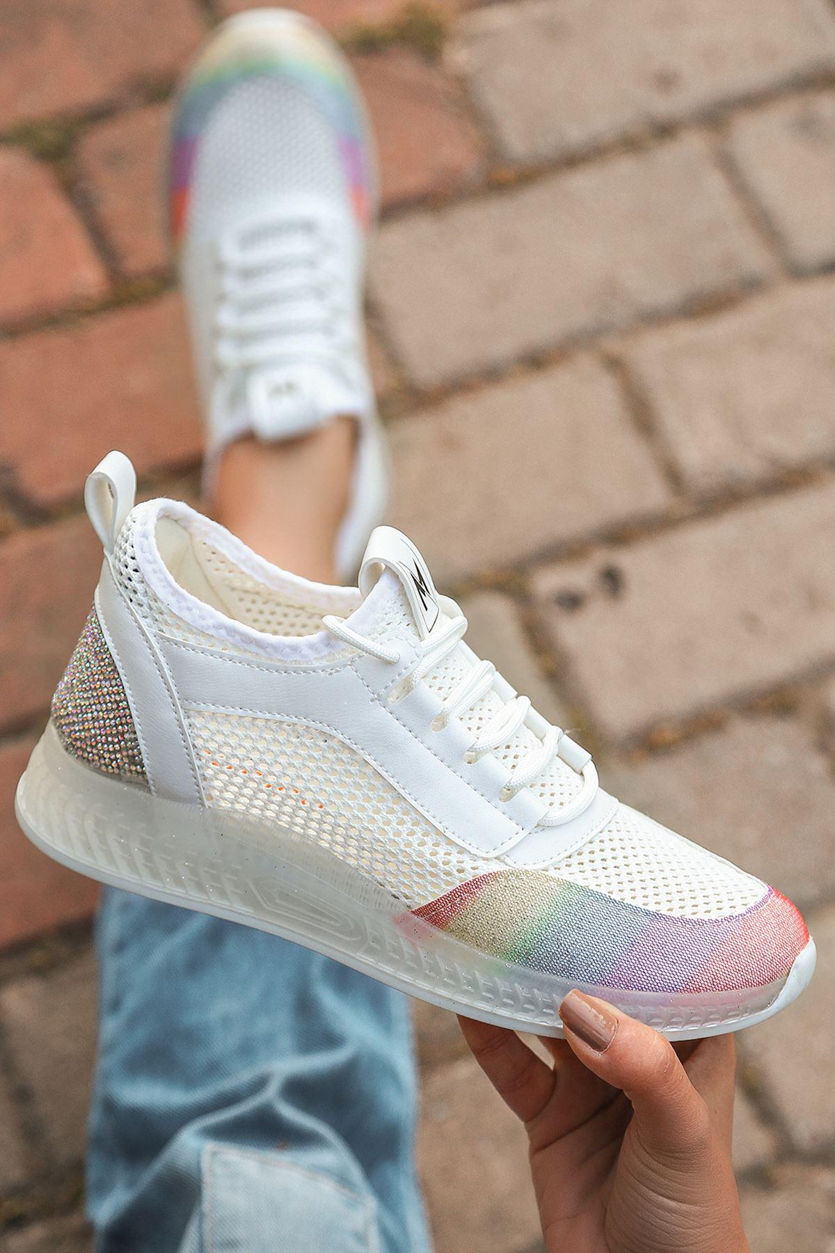Jenny Beyaz Gökkuşağı Triko Kadın Ayakkabı