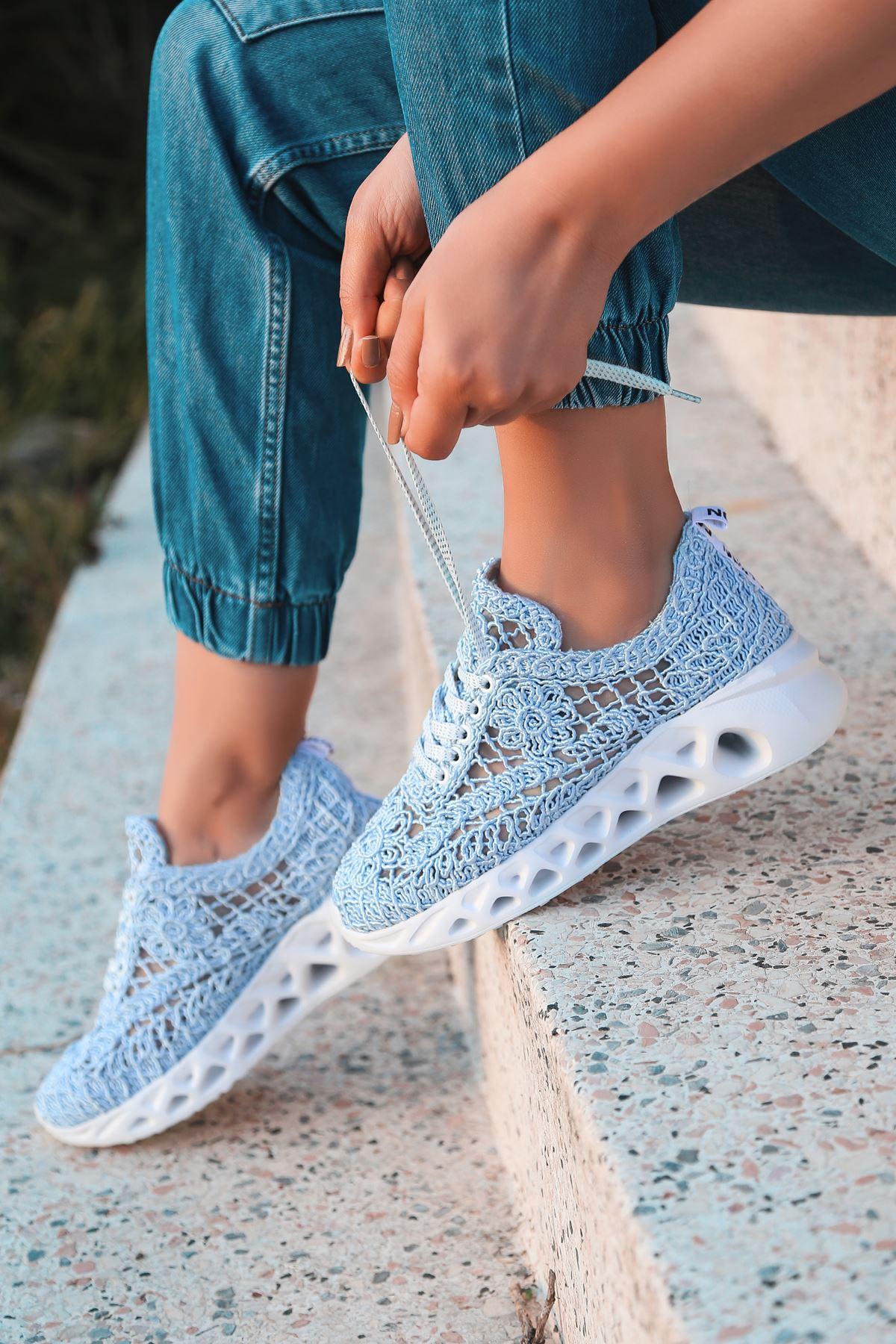Binevş Bebe Mavisi  Kadın Spor Ayakkabı