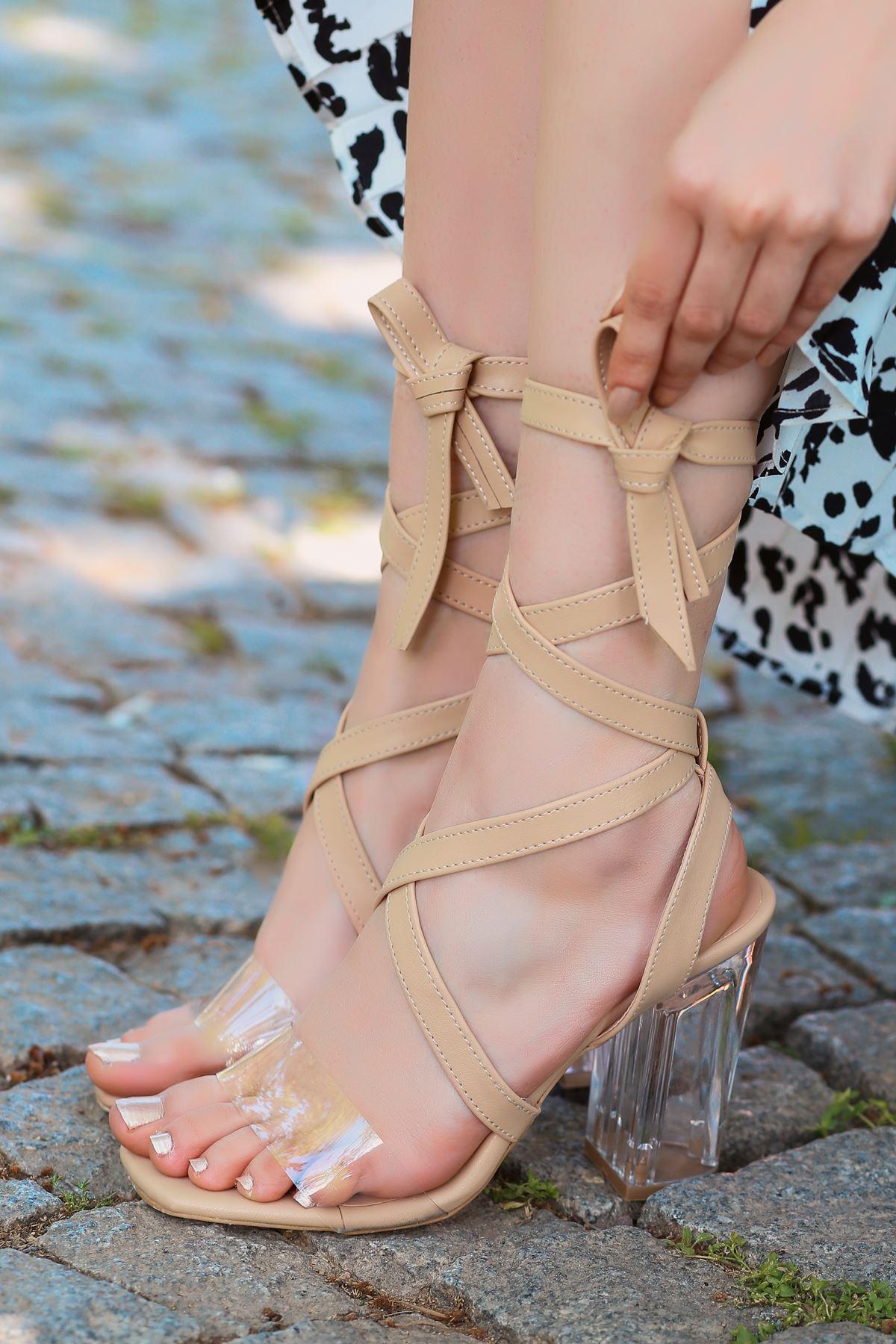 Rosie Vizon Şeffaf Bantlı Kalın Topuklu Kadın Ayakkabı